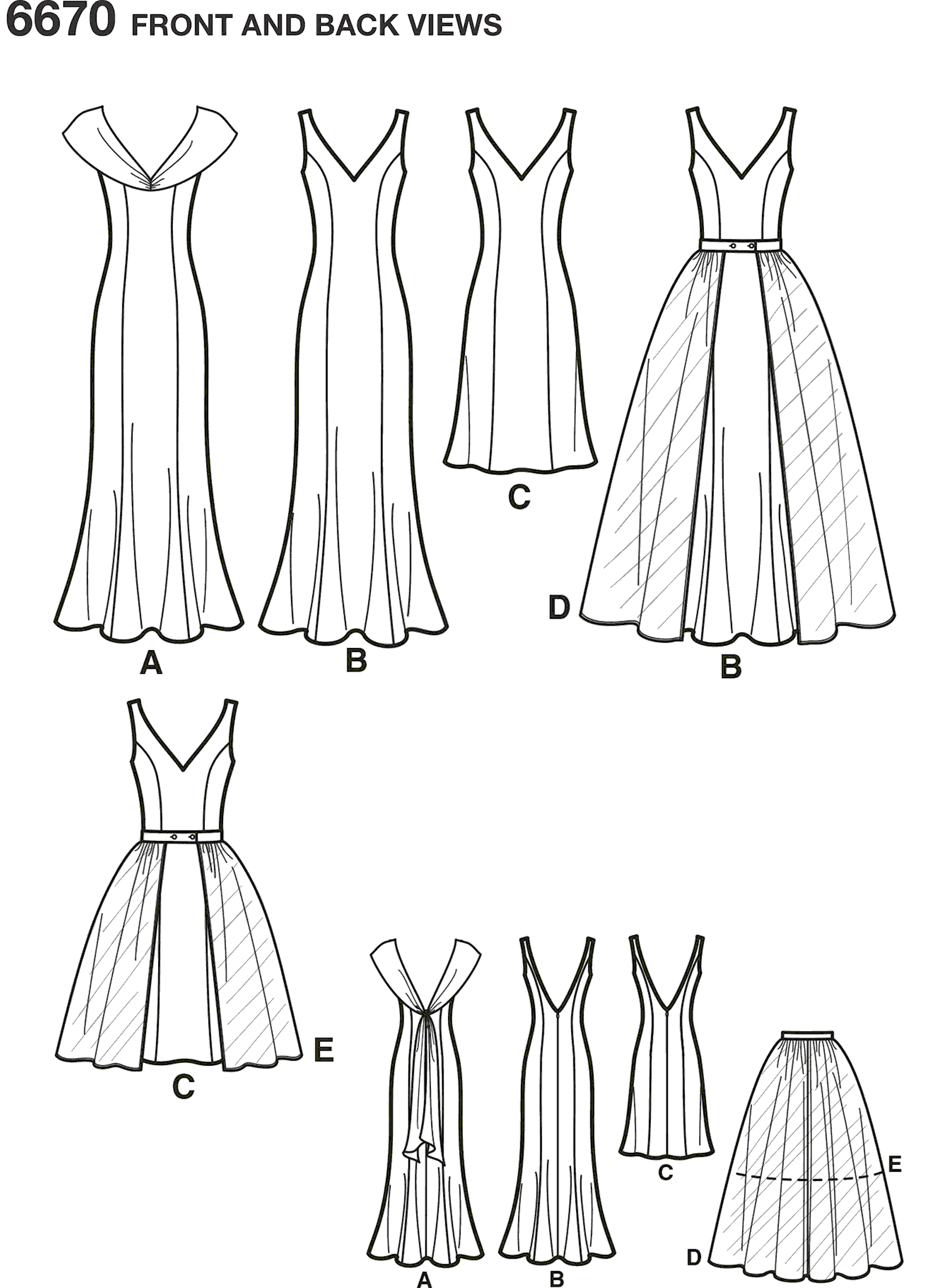 New Look Pattern 6670 Misses Dresses Line Art From Patternsandplains.com