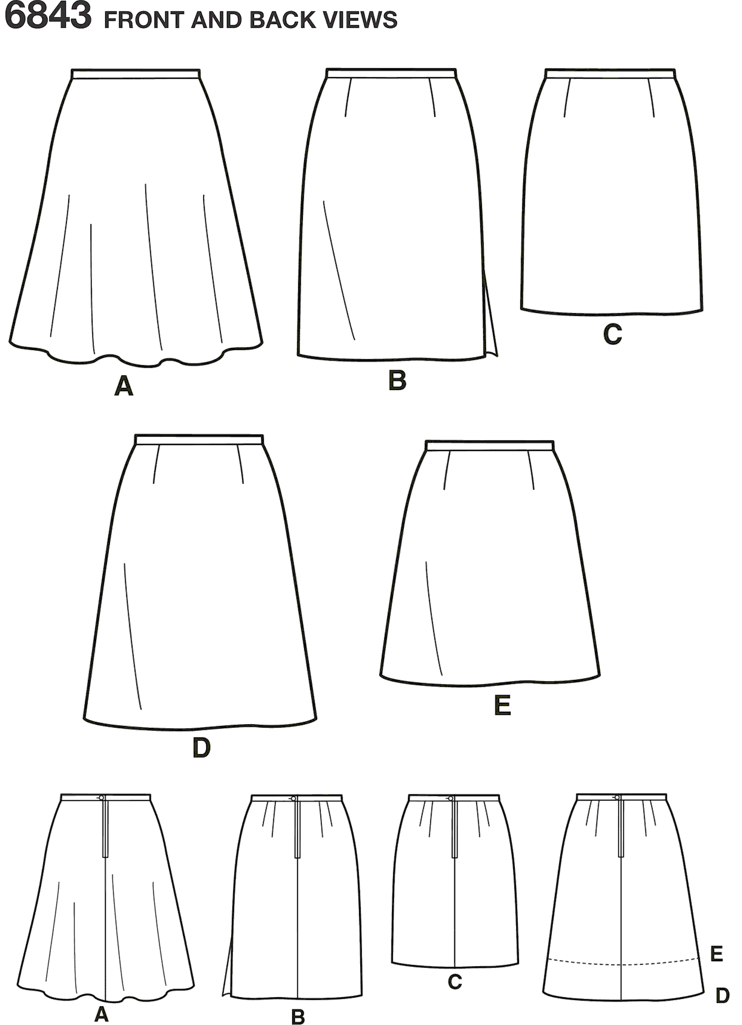 New Look Pattern 6843 Misses Skirts Line Art From Patternsandplains.com