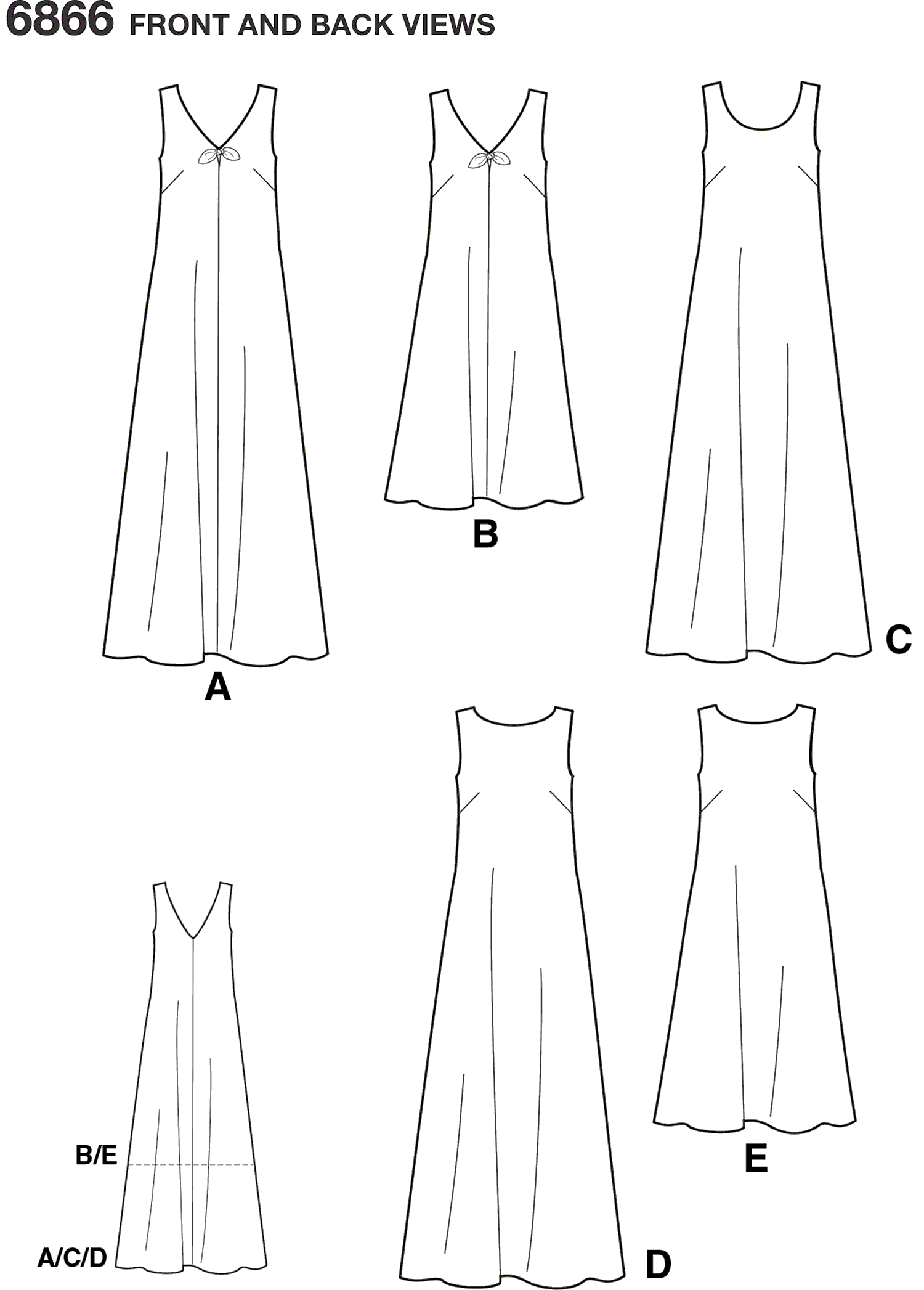 New Look Pattern 6866 Misses Dresses Line Art From Patternsandplains.com