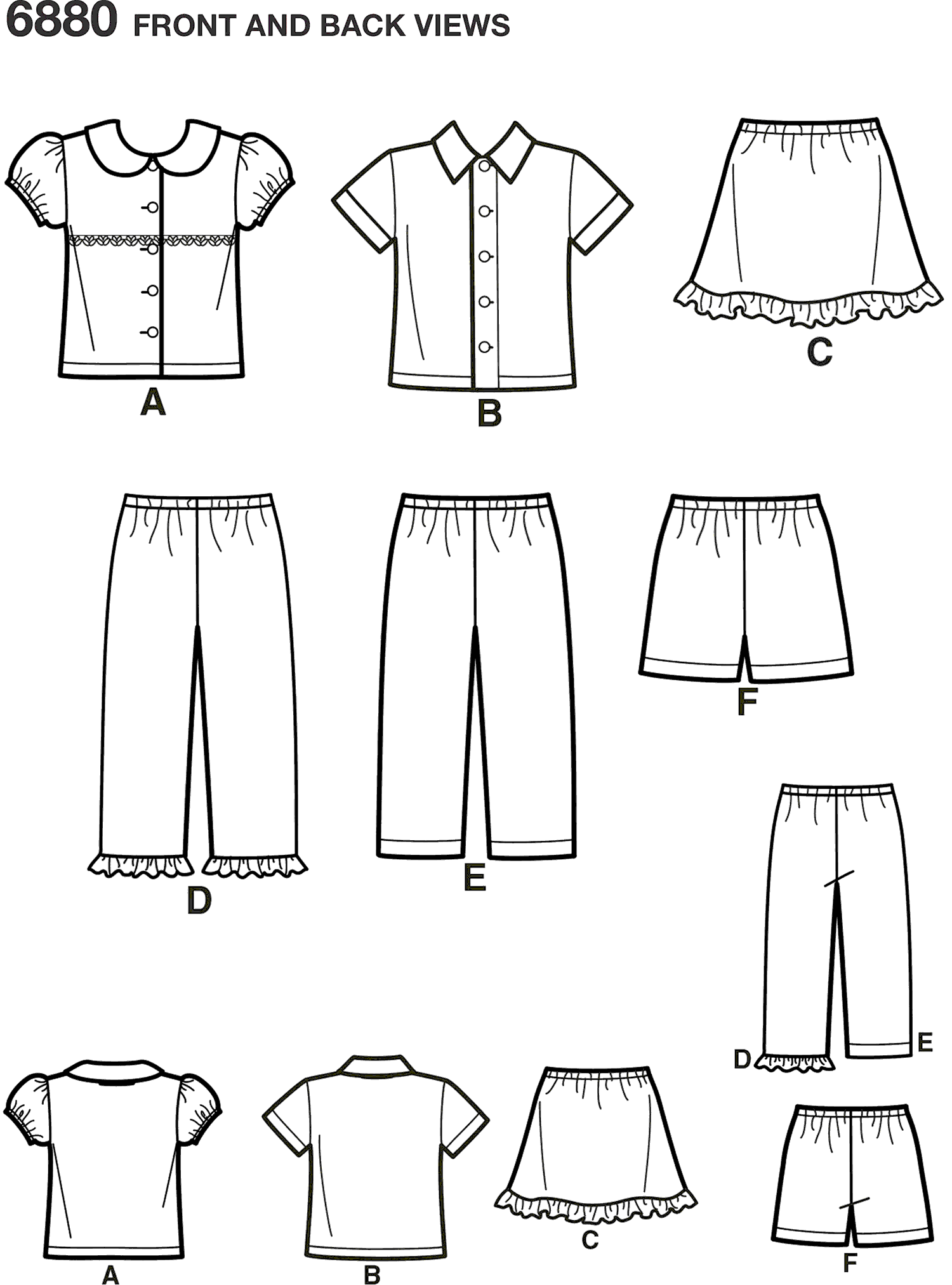New Look Pattern 6880 Toddler Separates Line Art From Patternsandplains.com