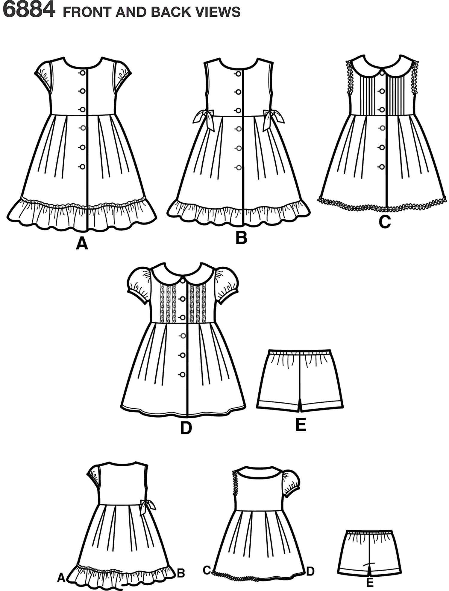 New Look Pattern 6884 Child Dresses Line Art From Patternsandplains.com