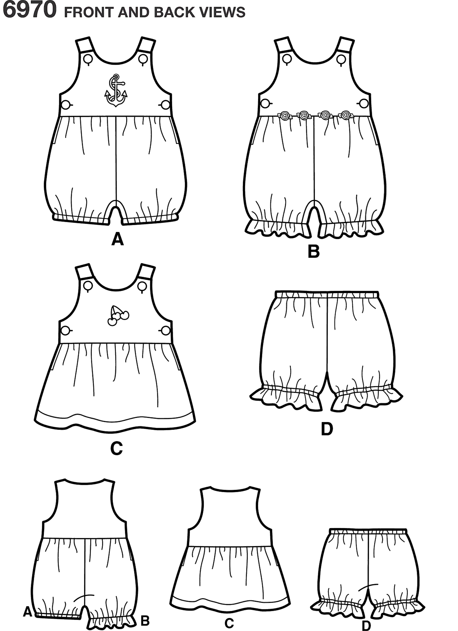 New Look Pattern 6970 Babies Romper Dress and Panties Line Art From Patternsandplains.com