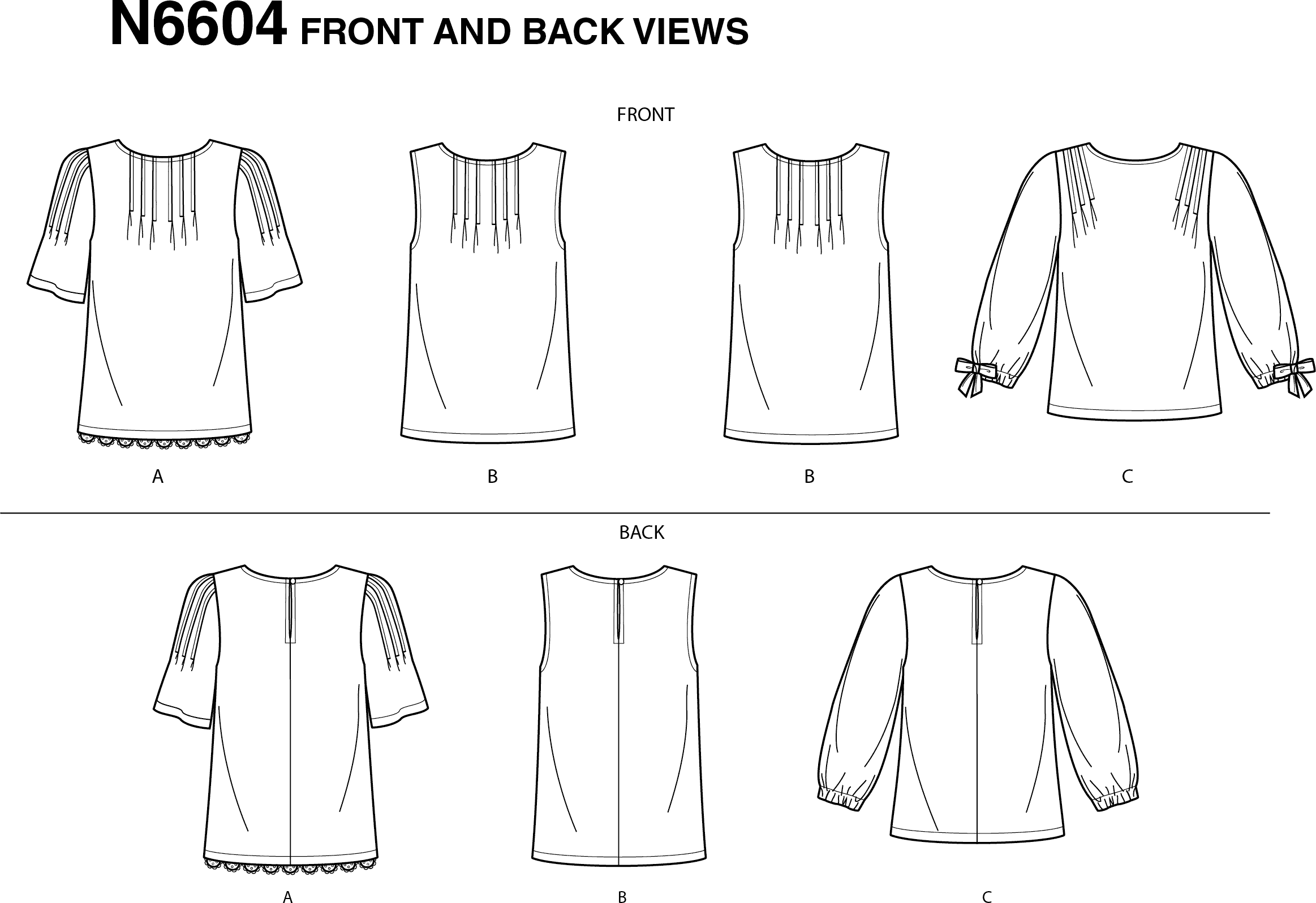 New Look Sewing Pattern N6604 Misses Tops 6604 Line Art From Patternsandplains.com