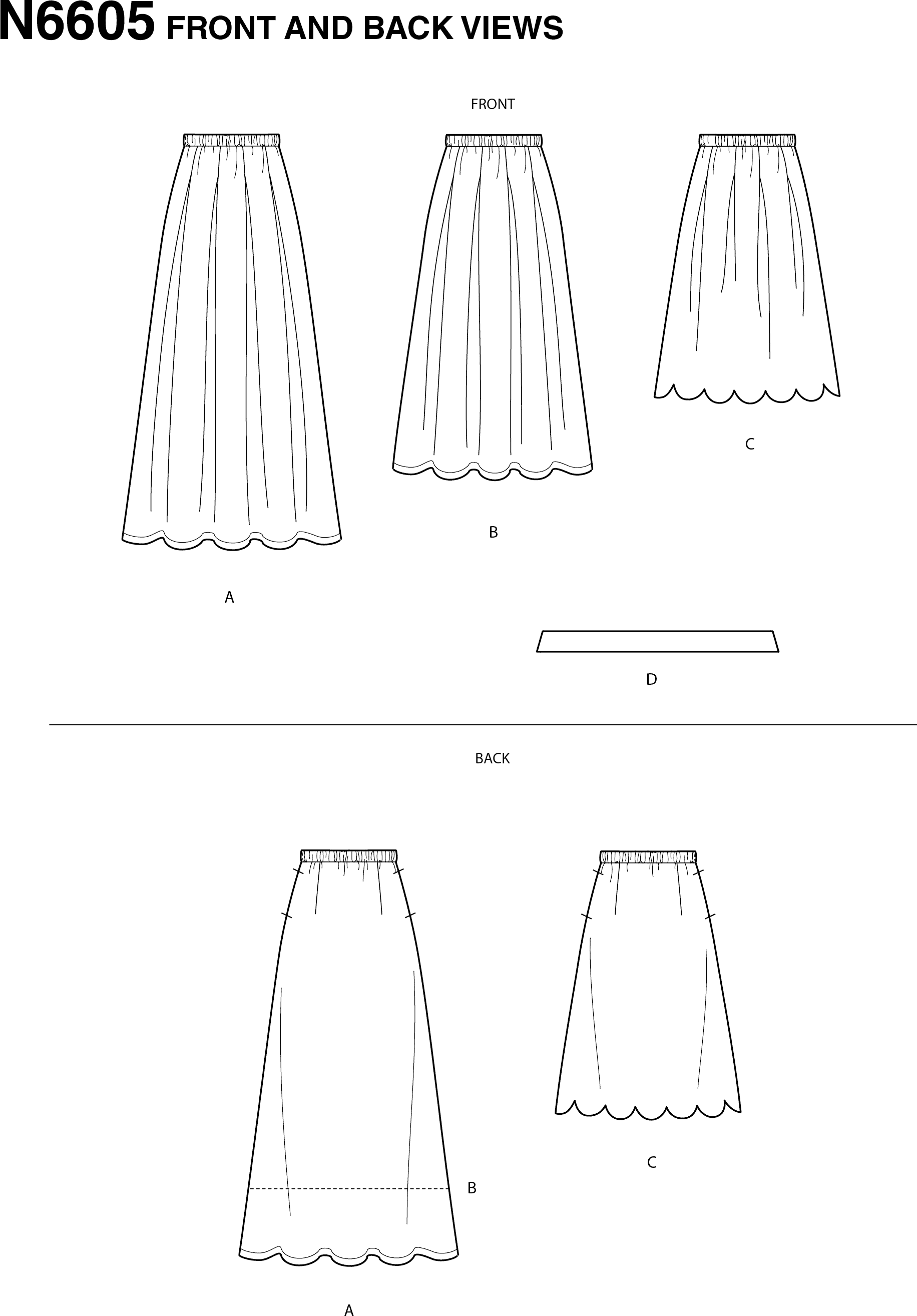 New Look Sewing Pattern N6605 Misses Skirt with Neck Tie 6605 Line Art From Patternsandplains.com