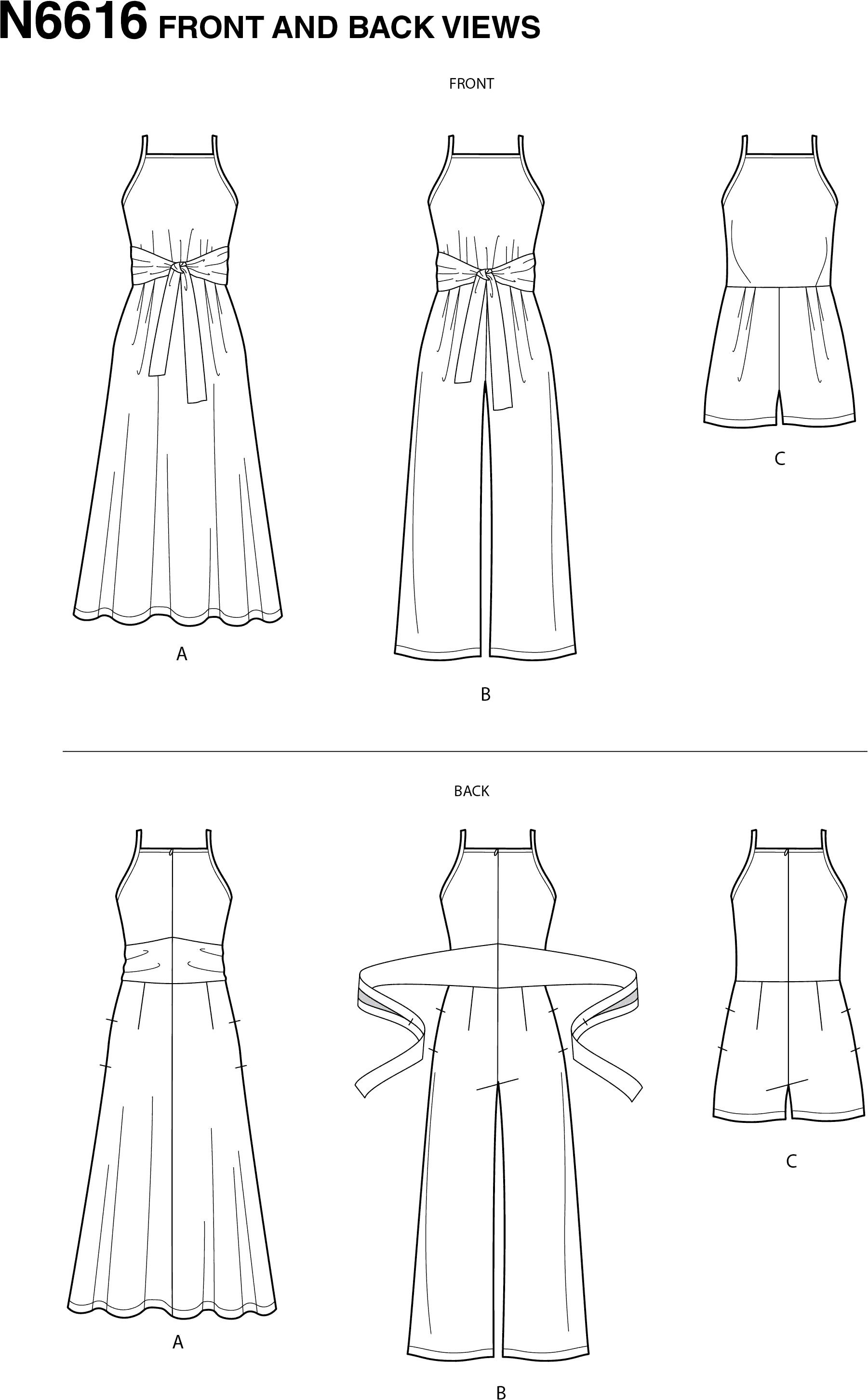 New Look Sewing Pattern N6616 Misses Dress And Jumpsuit 6616 Line Art From Patternsandplains.com
