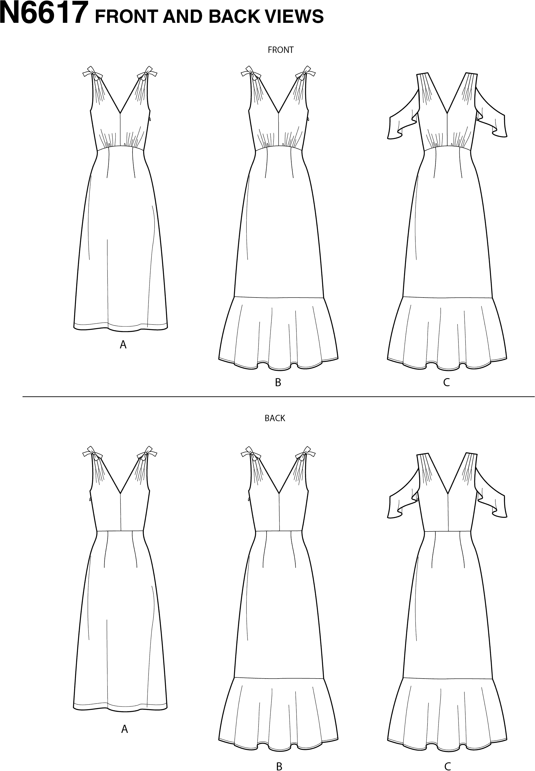 New Look Sewing Pattern N6617 Misses Dresses 6617 Line Art From Patternsandplains.com