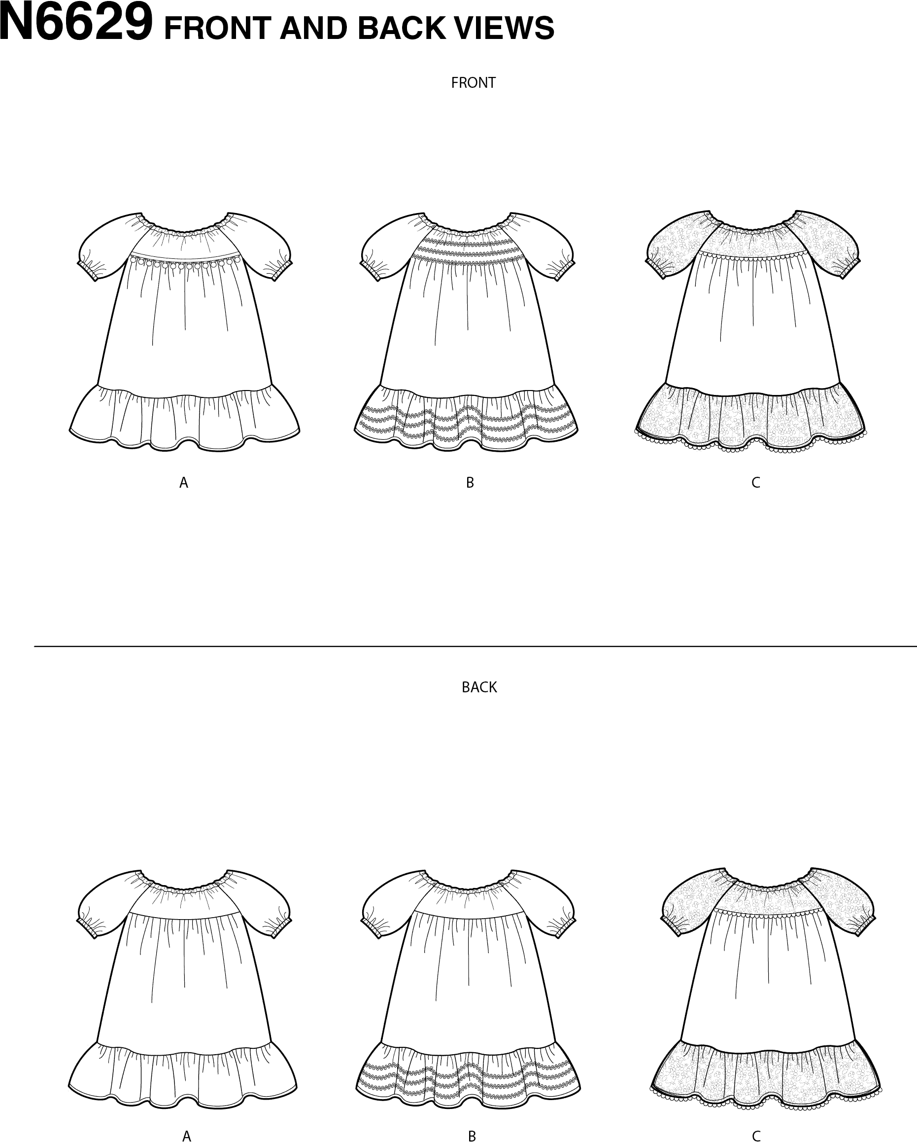 New Look Sewing Pattern N6629 Toddlers Dresses 6629 Line Art From Patternsandplains.com