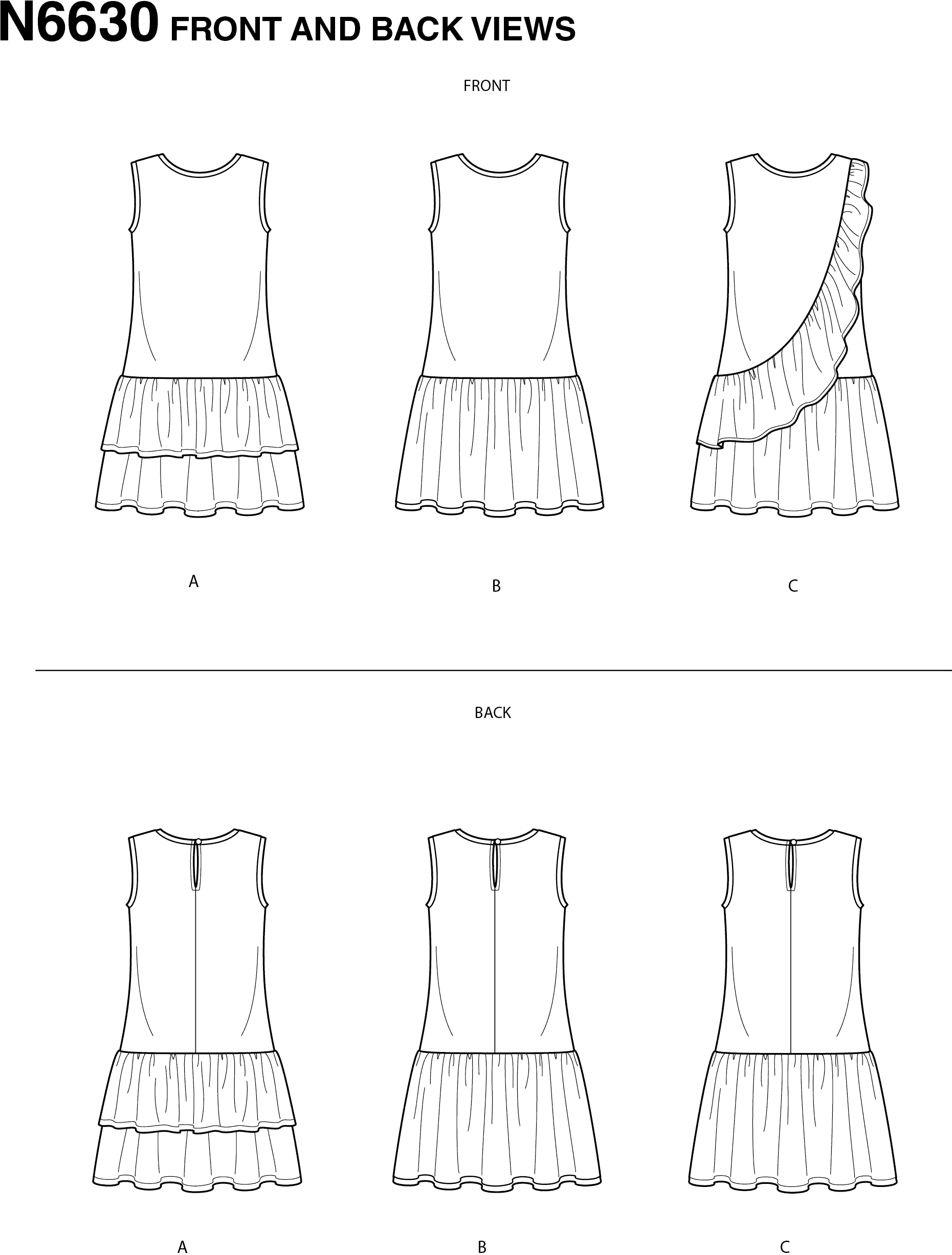 New Look Sewing Pattern N6630 Childrens And Girls Dresses 6630 Line Art From Patternsandplains.com