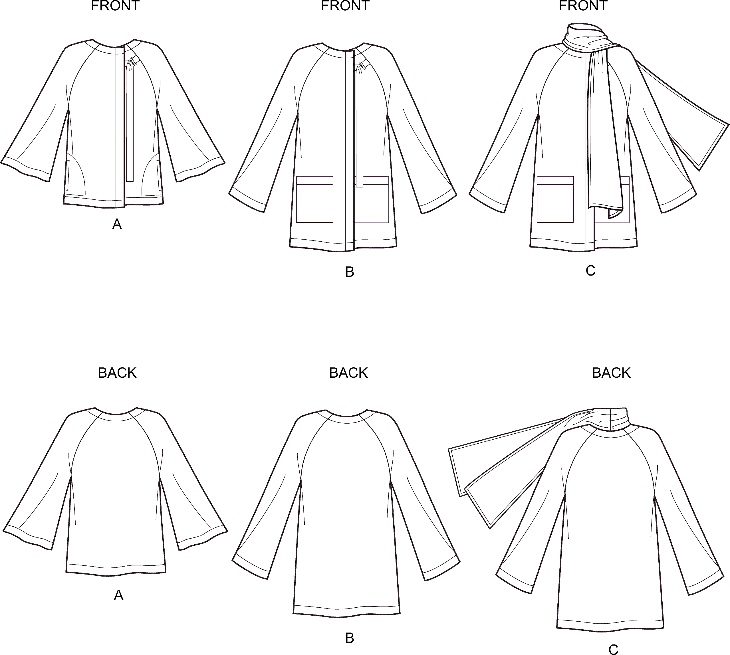 New Look Sewing Pattern N6639 Misses Poncho and Jackets 6639 Line Art From Patternsandplains.com