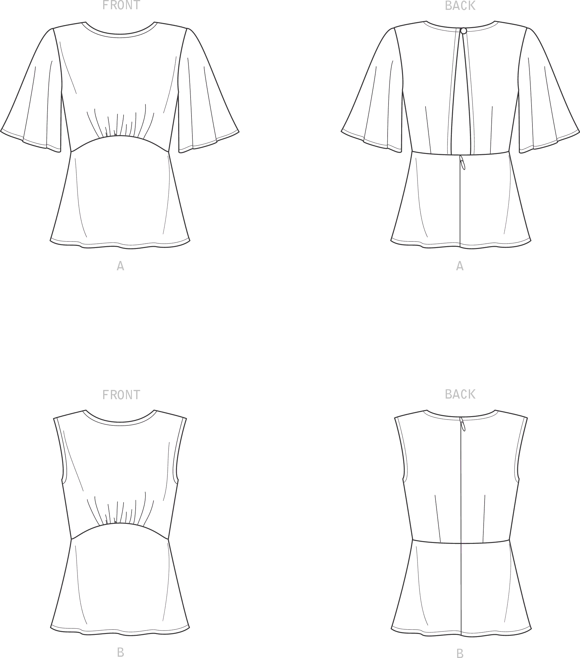 New Look Sewing Pattern N6656 Misses Top With Optional Black Opening and Flared Sleeves 6656 Line Art From Patternsandplains.com