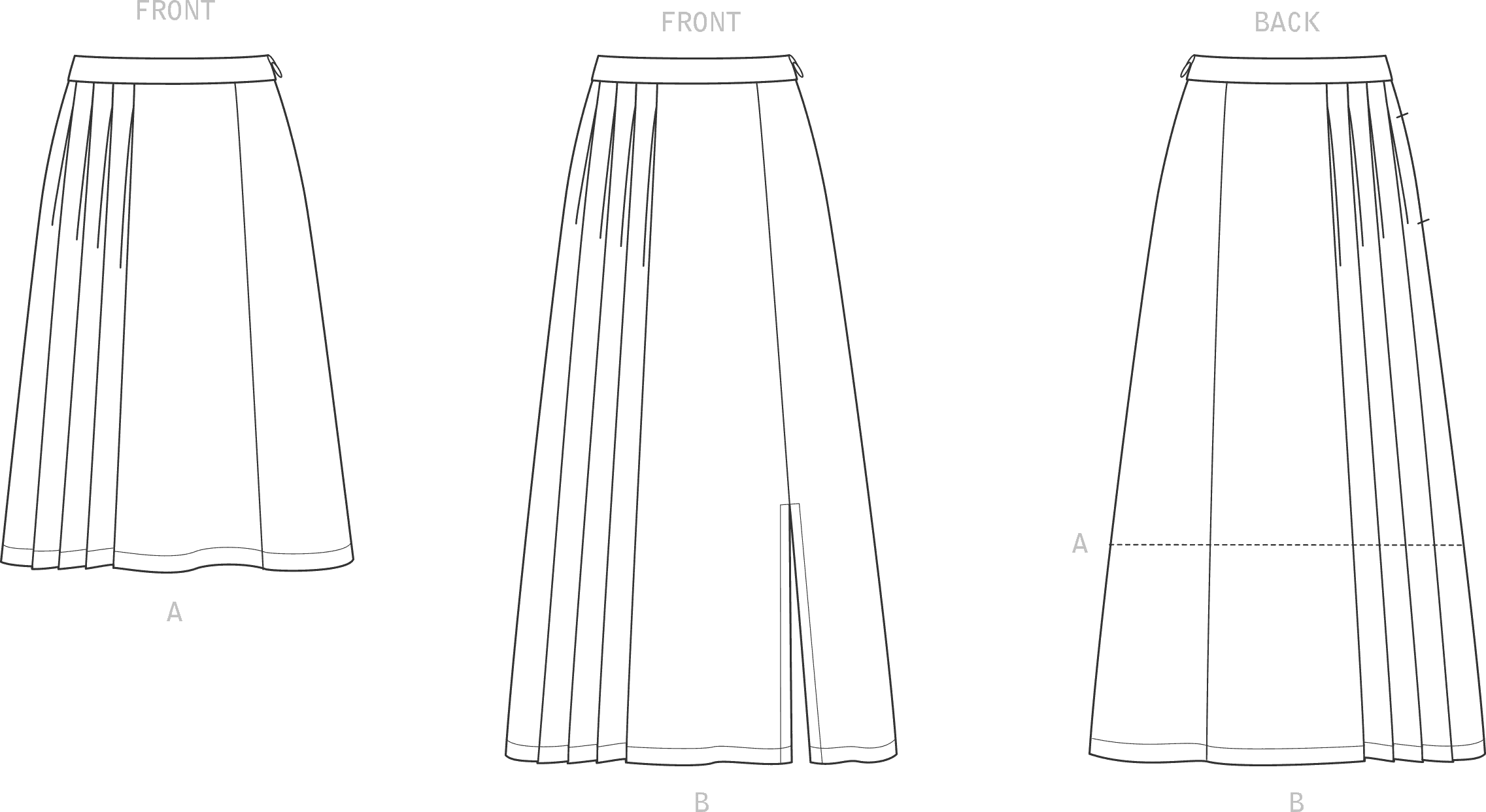 New Look Sewing Pattern N6659 Misses Pleated Skirt With Or Without Front Slit Opening 6659 Line Art From Patternsandplains.com