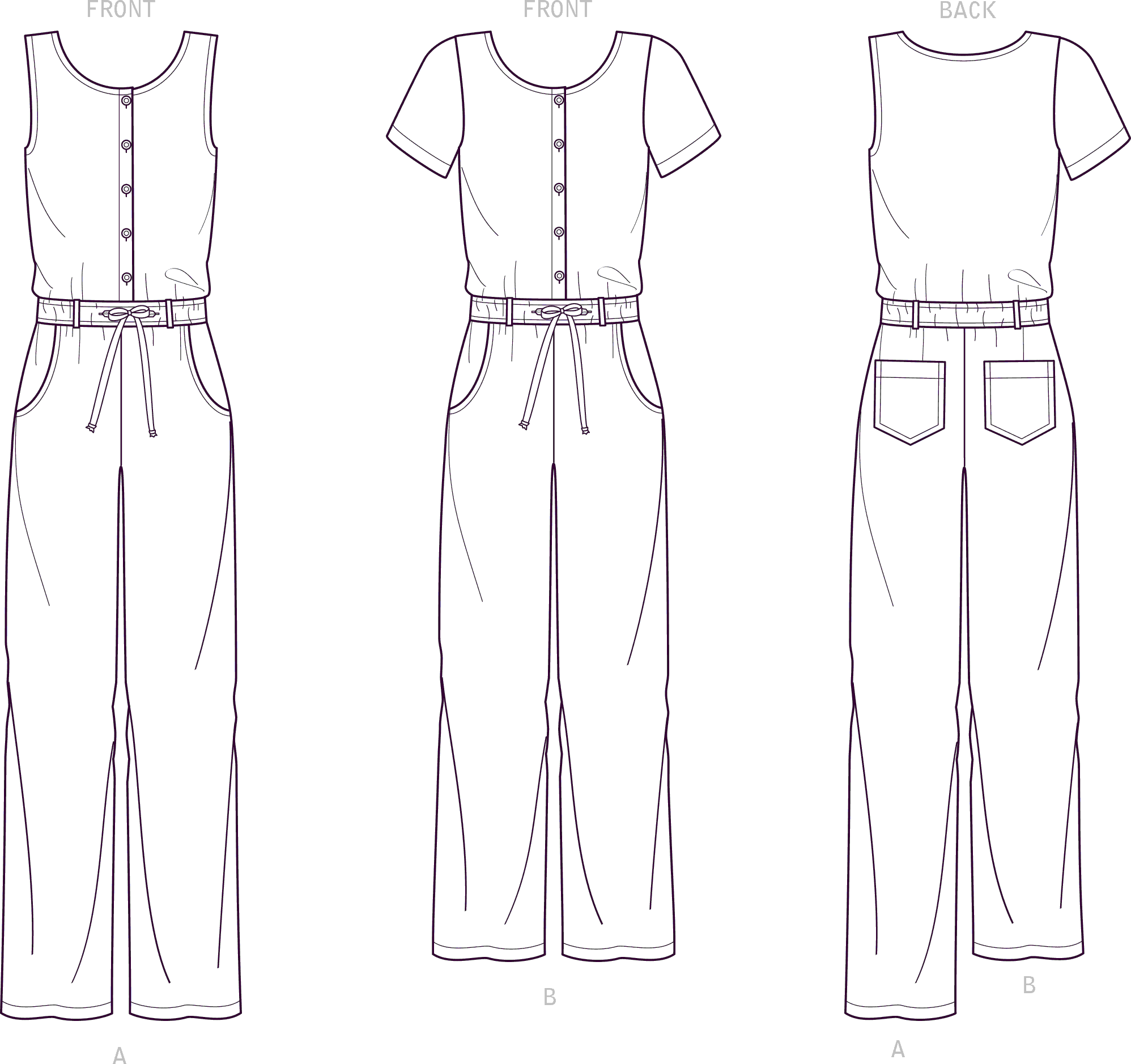 New Look Sewing Pattern N6661 Misses Relaxed Fit Jumpsuit With Drawstring Waist 6661 Line Art From Patternsandplains.com