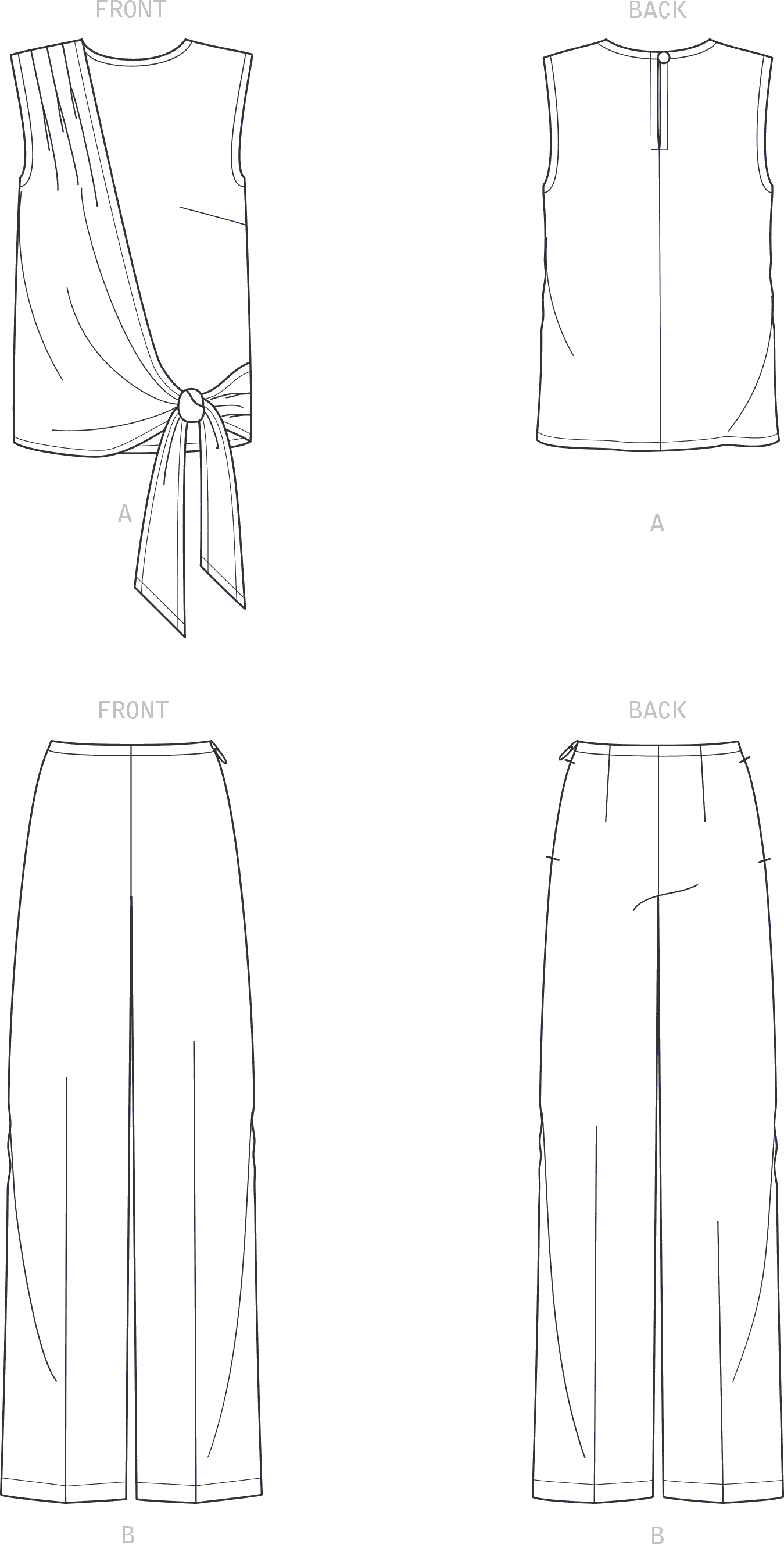 New Look Sewing Pattern N6662 Misses Drape Top and Wide Leg Pants 6662 Line Art From Patternsandplains.com