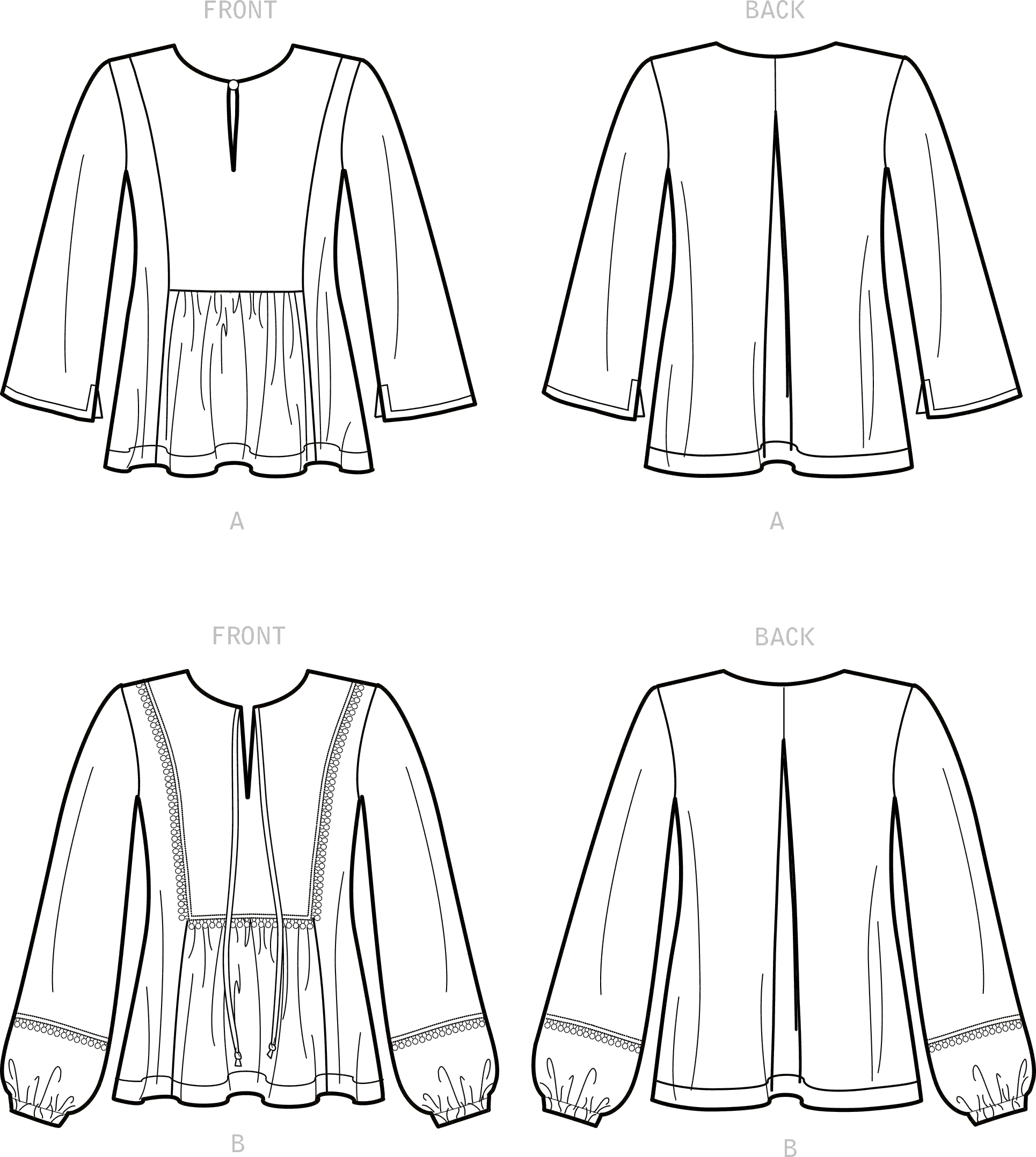 New Look Sewing Pattern N6671 Misses Top 6671 Line Art From Patternsandplains.com