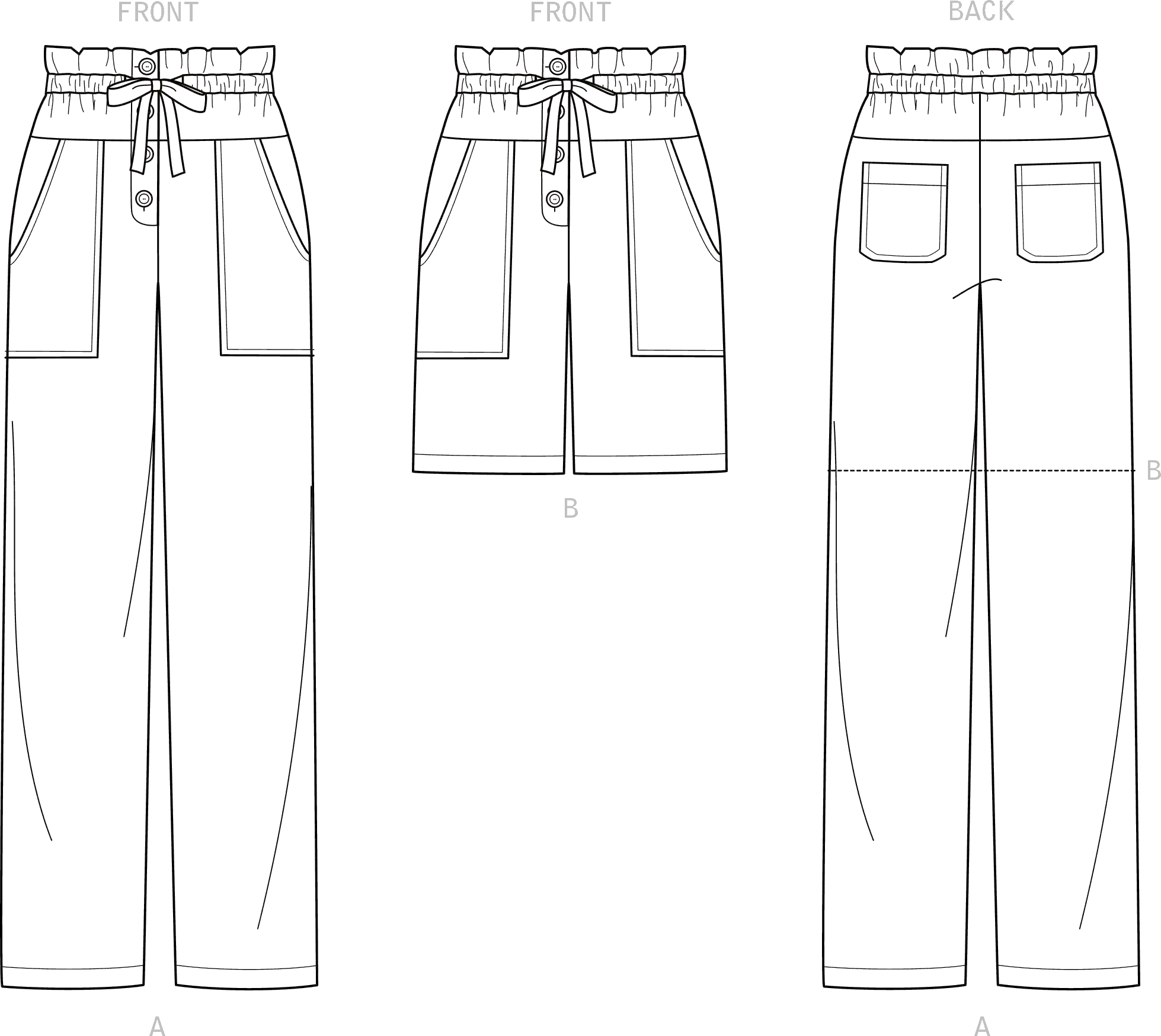 New Look Sewing Pattern N6674 Misses Trousers and Shorts 6674 Line Art From Patternsandplains.com