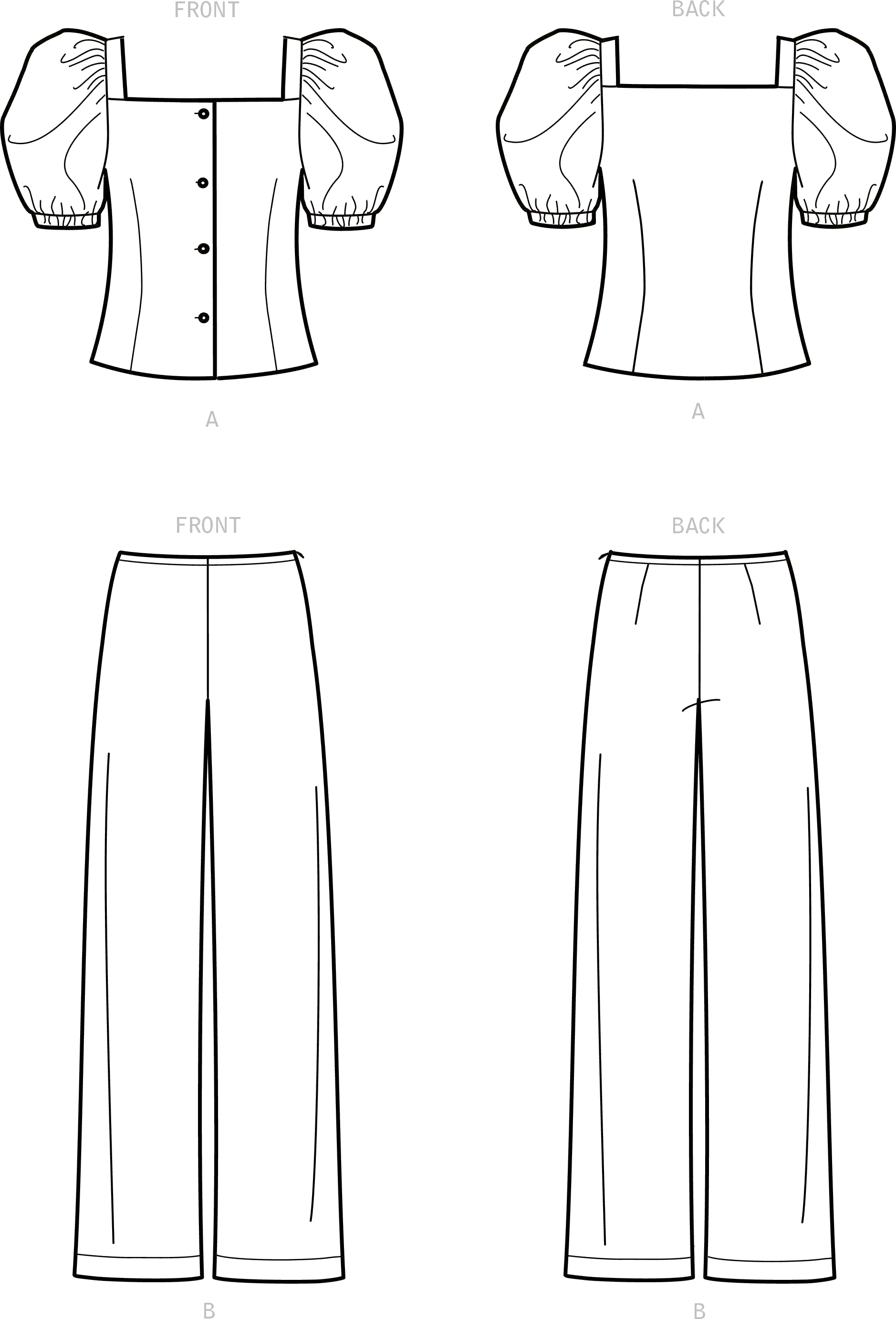 New Look Sewing Pattern N6678 Misses Top and Trousers 6678 Line Art From Patternsandplains.com