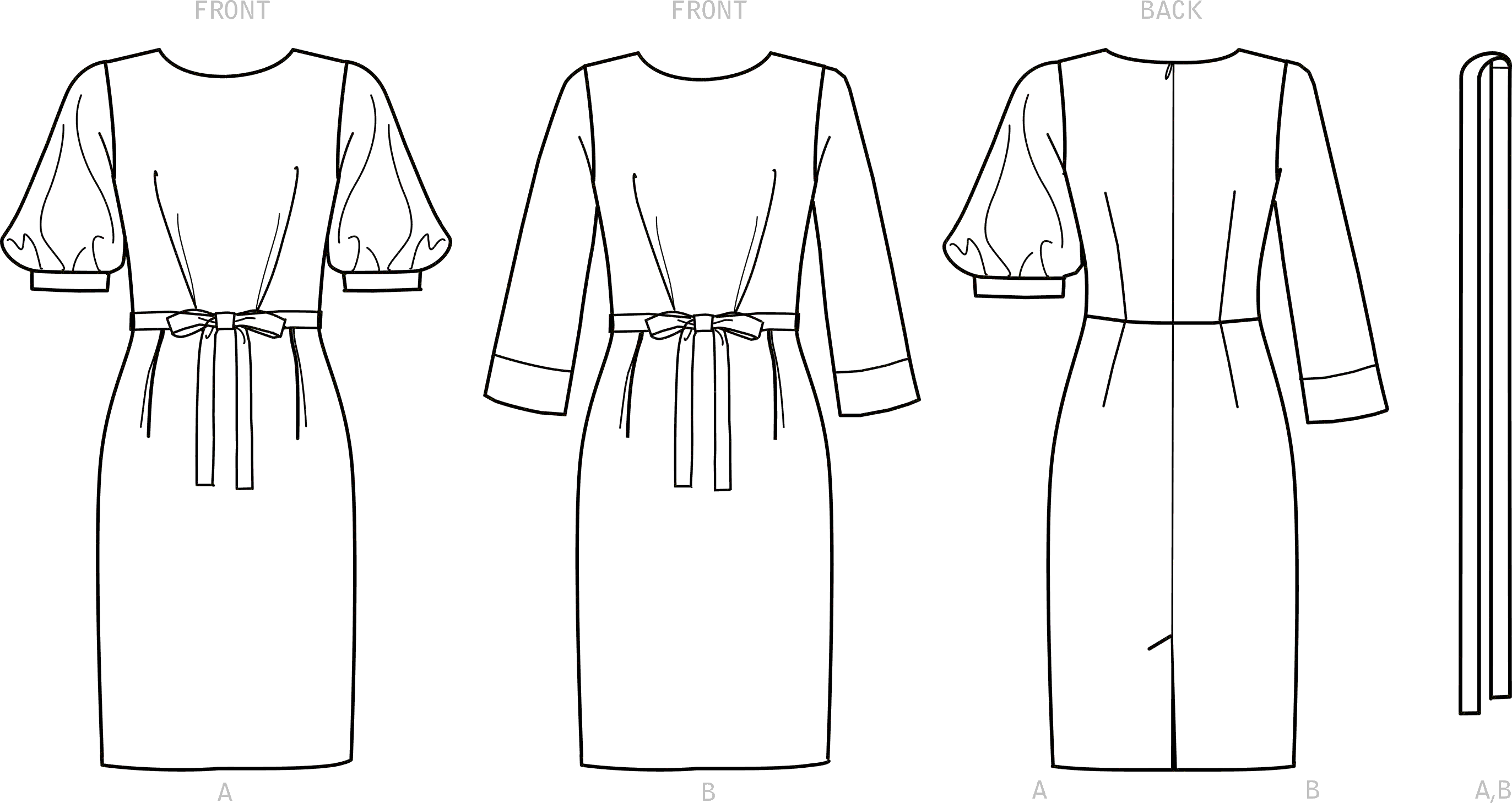 New Look Sewing Pattern N6679 Misses Knee Length Dress With Sleeve Variations 6679 Line Art From Patternsandplains.com