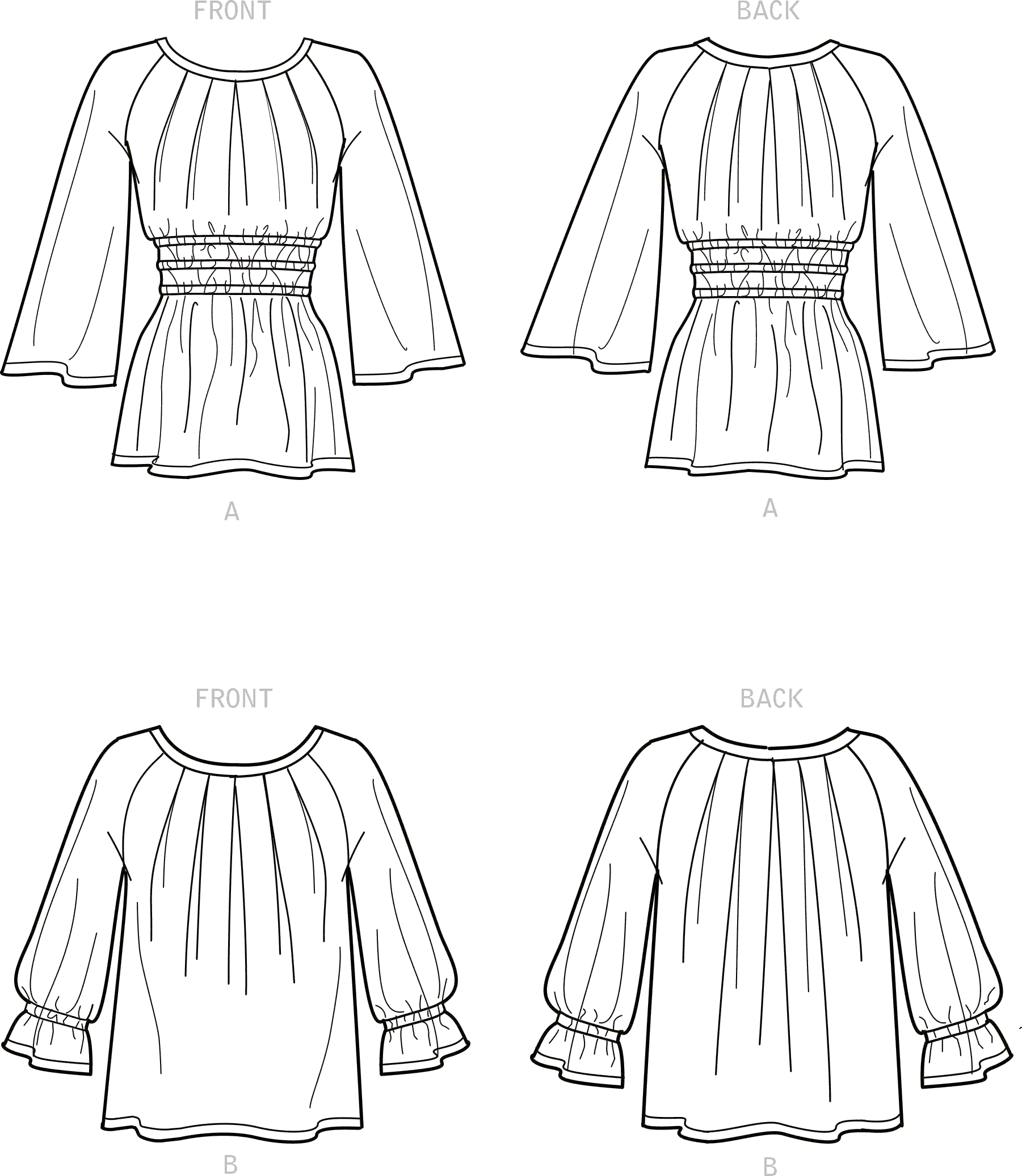 New Look Sewing Pattern N6684 Misses Tops In Two Lengths 6684 Line Art From Patternsandplains.com