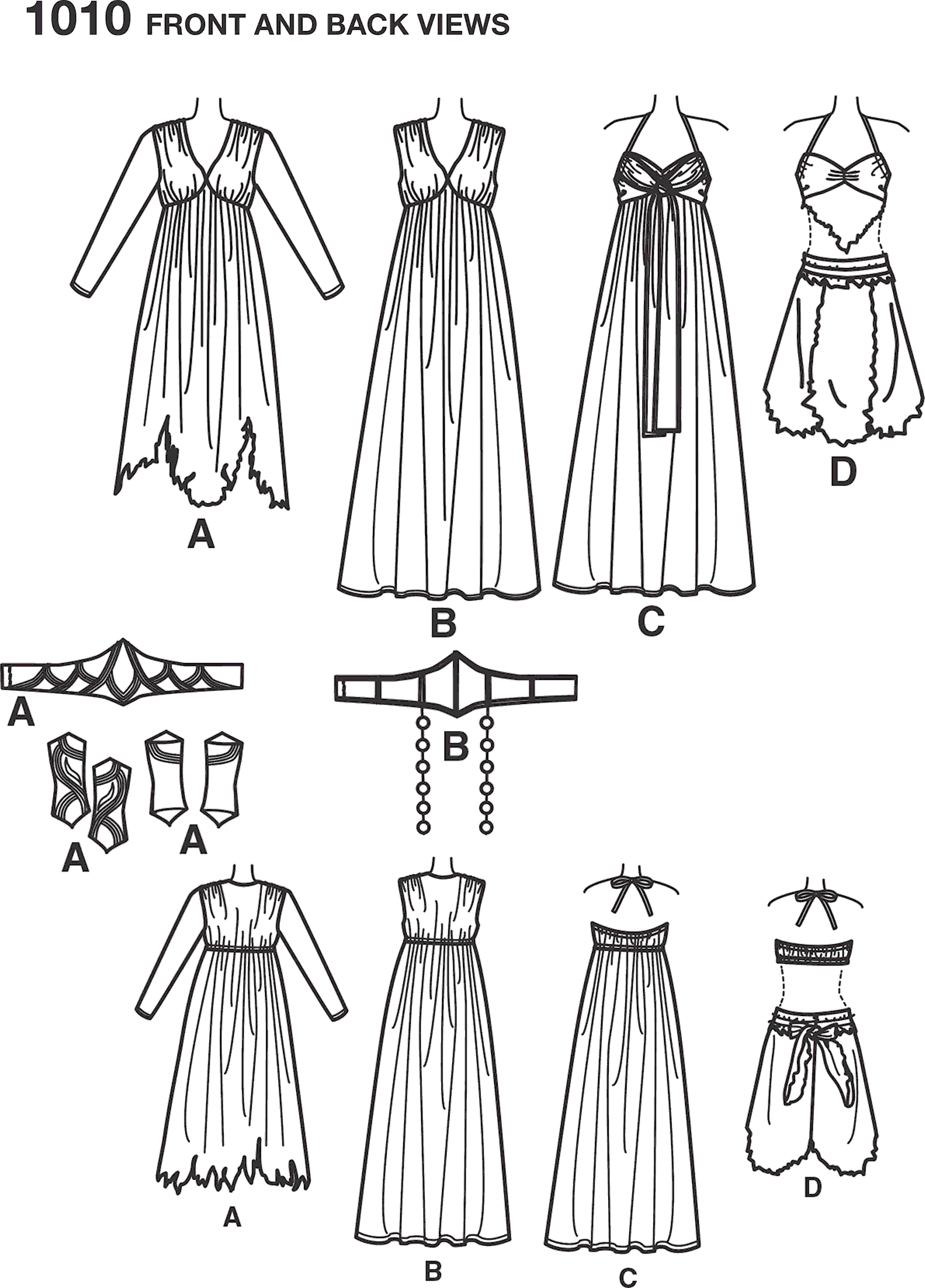Simplicity Pattern 1010 Womens Fantasy Costumes Line Art From Patternsandplains.com