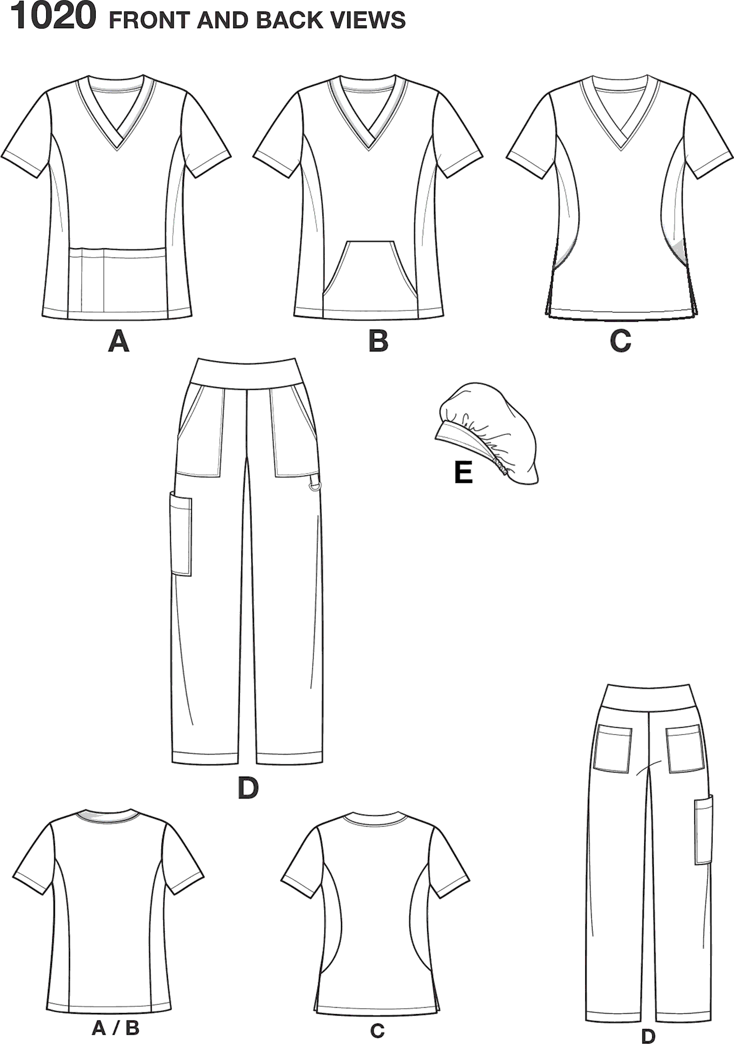 Simplicity Pattern 1020 Womens and Plus Size Scrubs Line Art From Patternsandplains.com