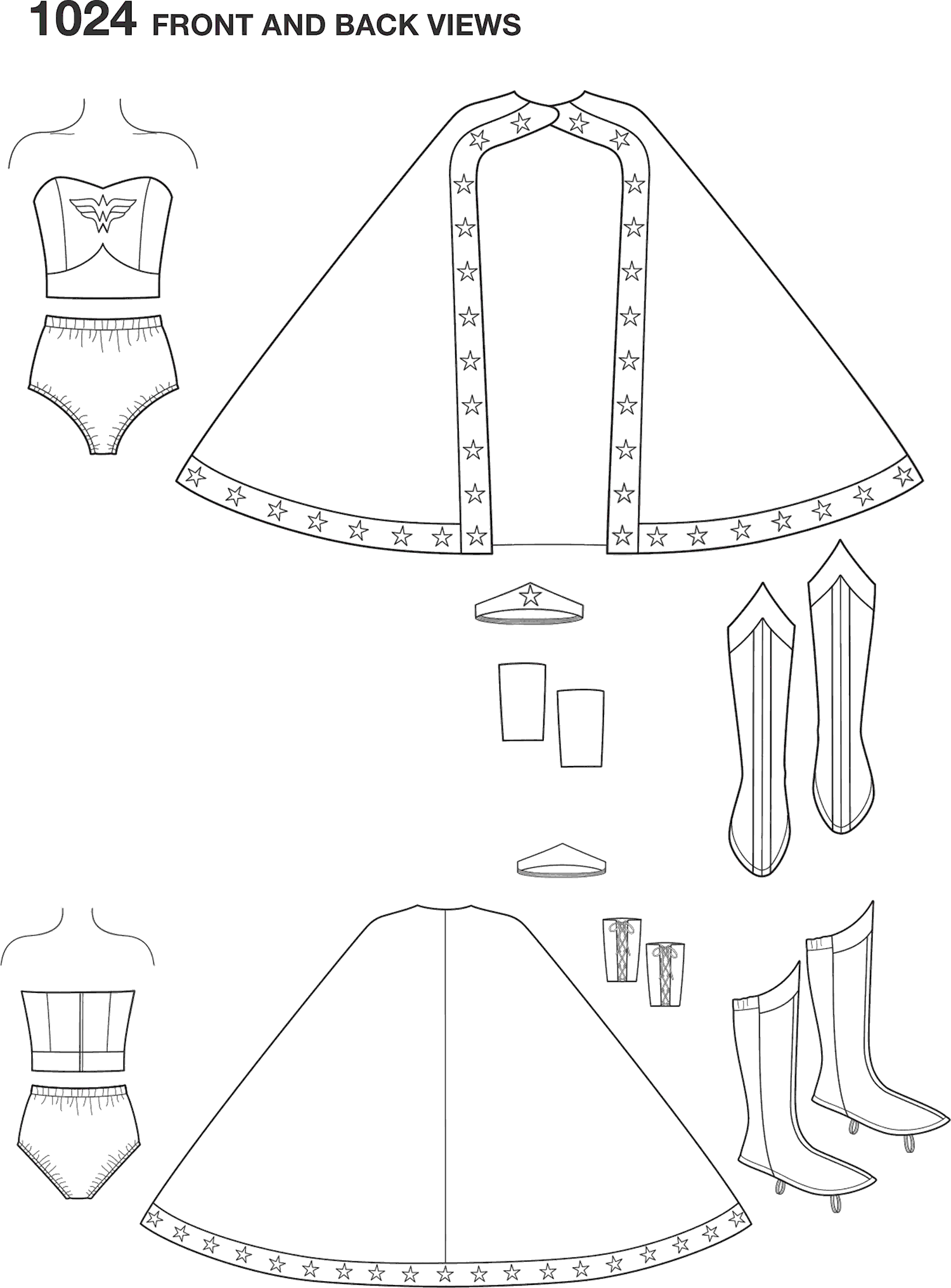 Simplicity Pattern 1024 Womens Wonder Woman Costume Line Art From Patternsandplains.com