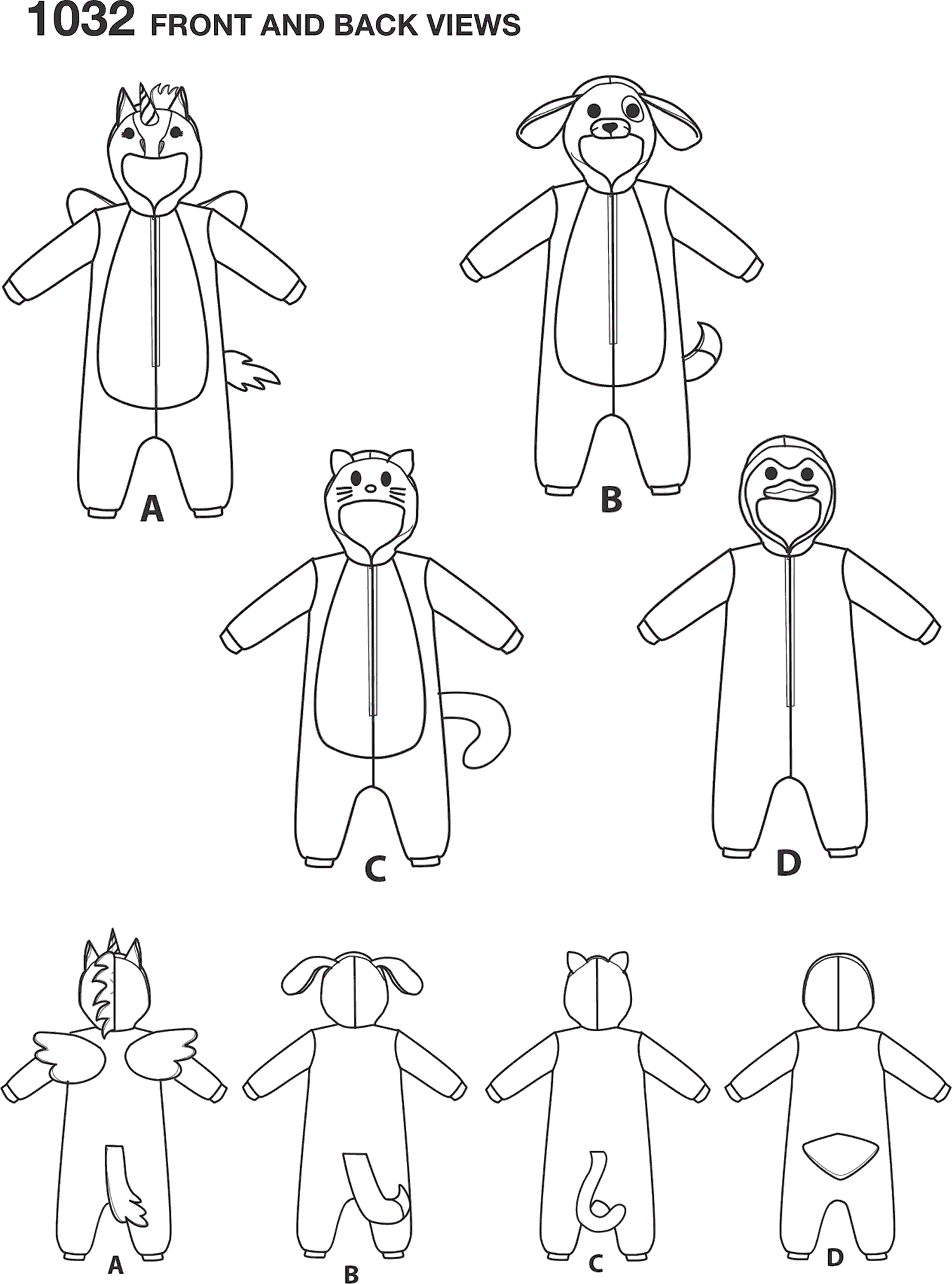 Simplicity Pattern 1032 Toddlers Animal Costumes Line Art From Patternsandplains.com