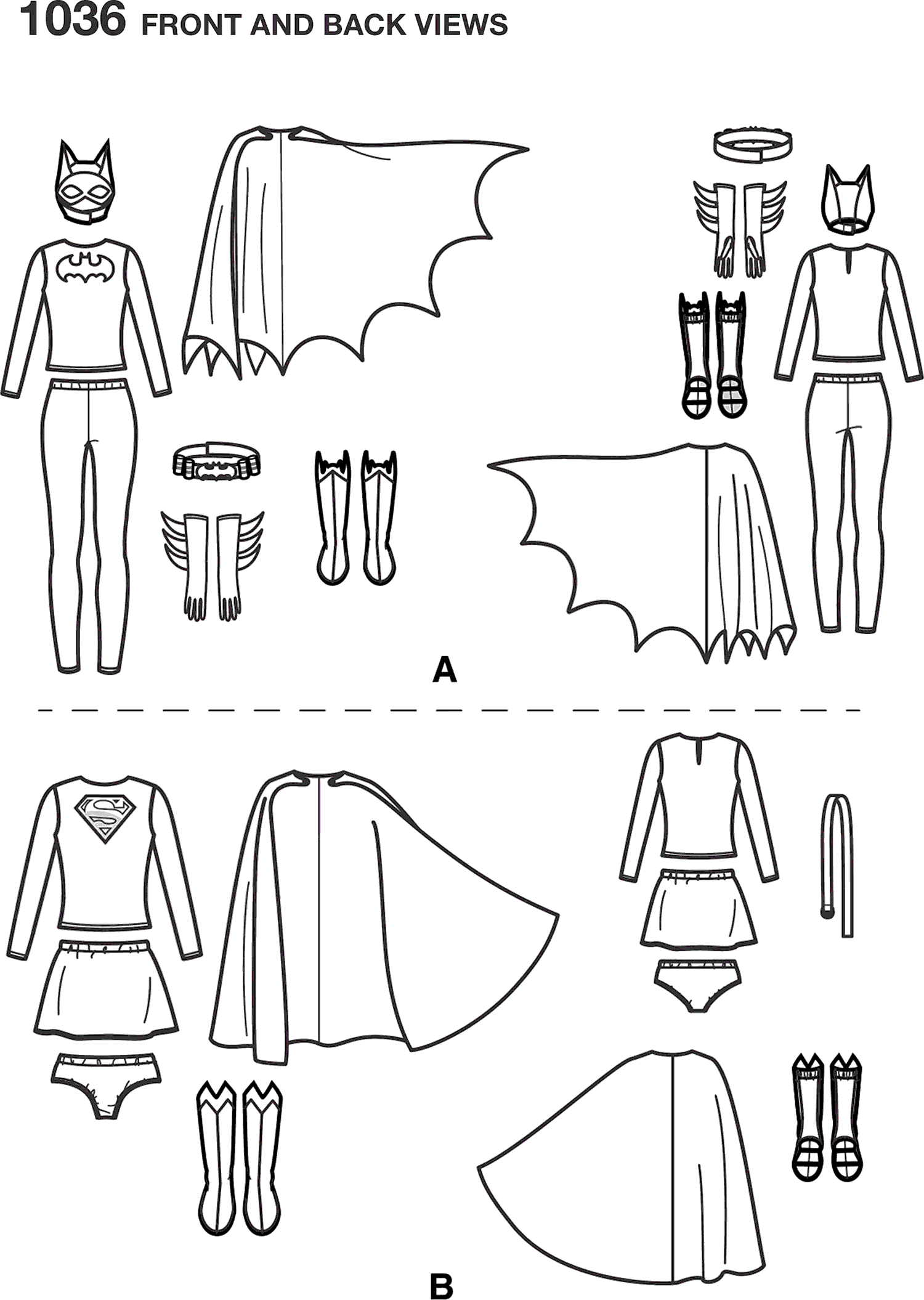 Simplicity Pattern 1036 Womens Supergirl and Batgirl Costumes Line Art From Patternsandplains.com