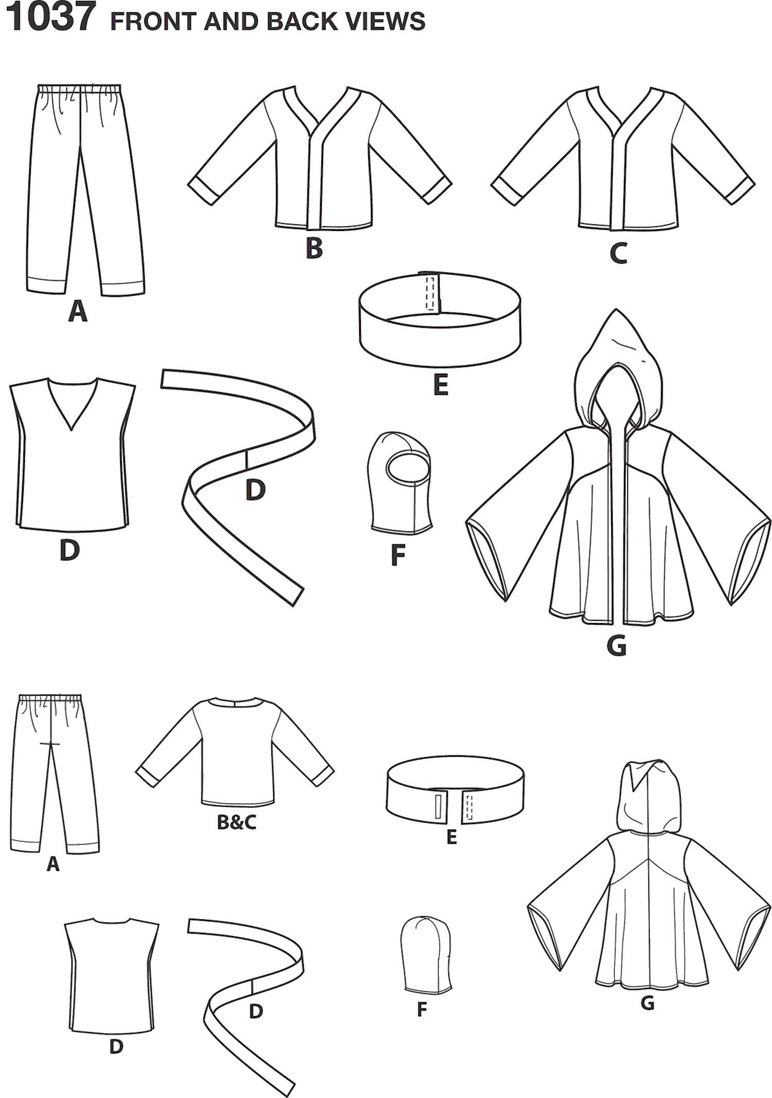 Simplicity Pattern 1037 Boys Easy To Sew Costumes Line Art From Patternsandplains.com