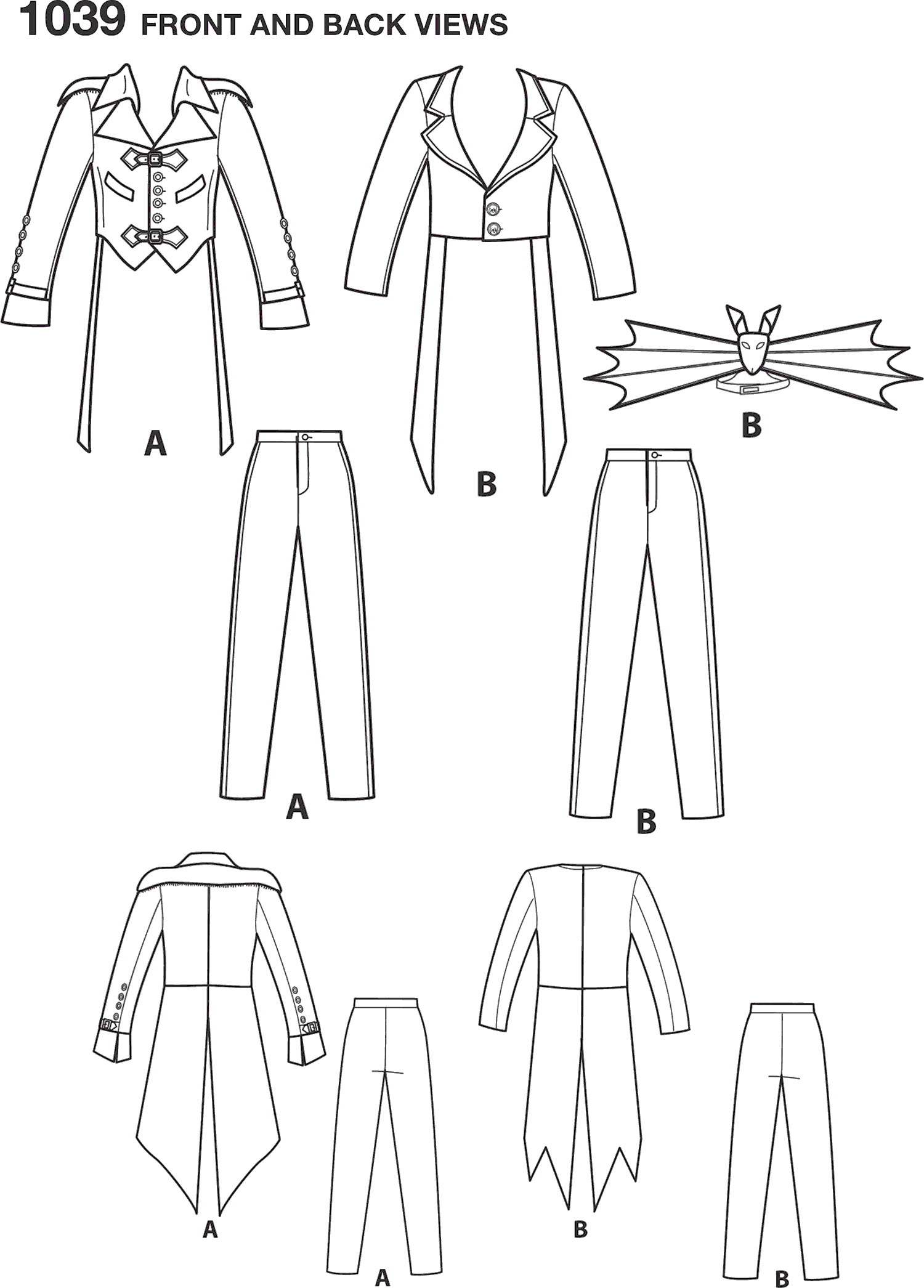 Simplicity Pattern 1039 Mens Cosplay Costumes Line Art From Patternsandplains.com