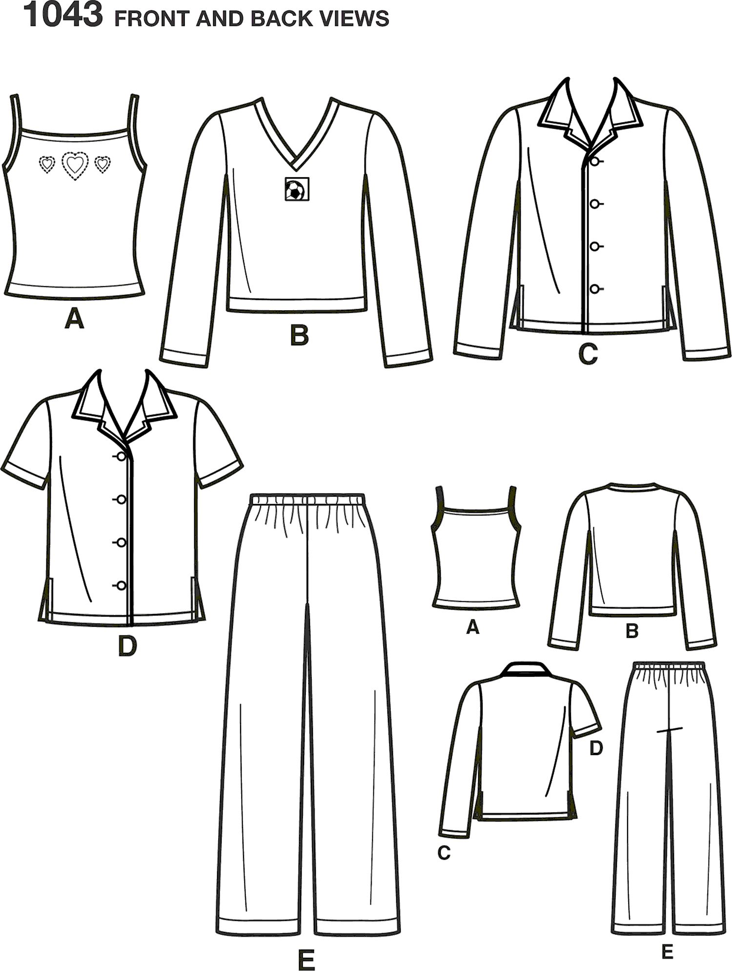 Simplicity Pattern 1043 Childs Girls and Boys Separates Line Art From Patternsandplains.com
