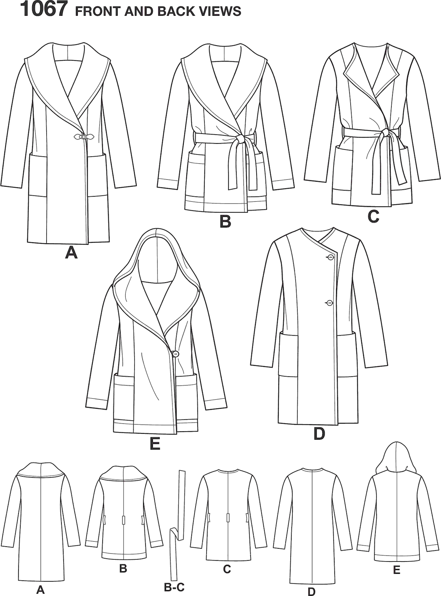 Simplicity Pattern 1067 Womens Easy To Sew Jacket or Coat Line Art From Patternsandplains.com