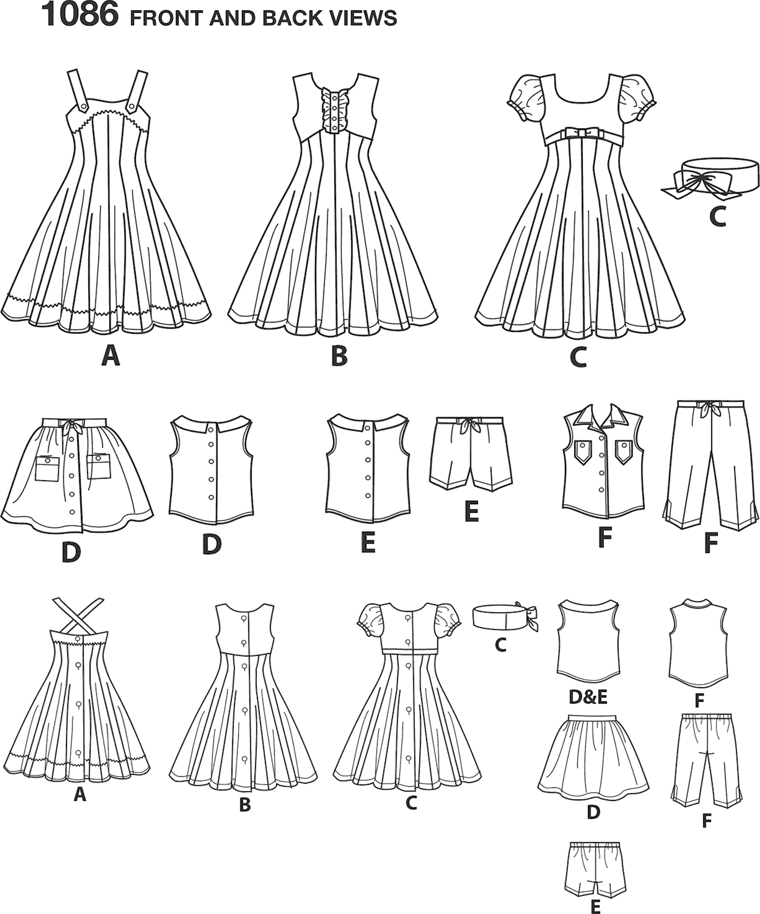 Simplicity Pattern 1086 18 Doll Clothes Line Art From Patternsandplains.com