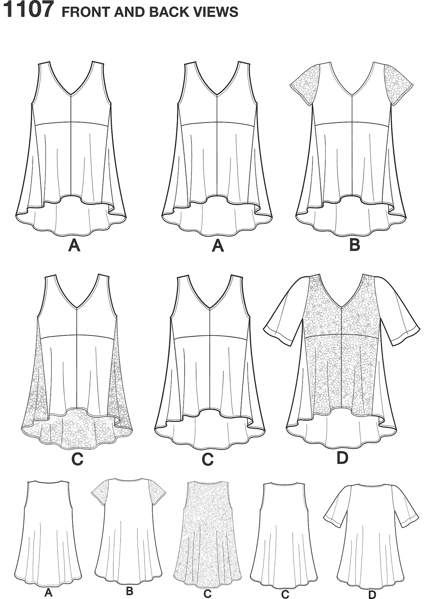 Simplicity Pattern 1107 Womens Tops with Fabric Variations Line Art From Patternsandplains.com