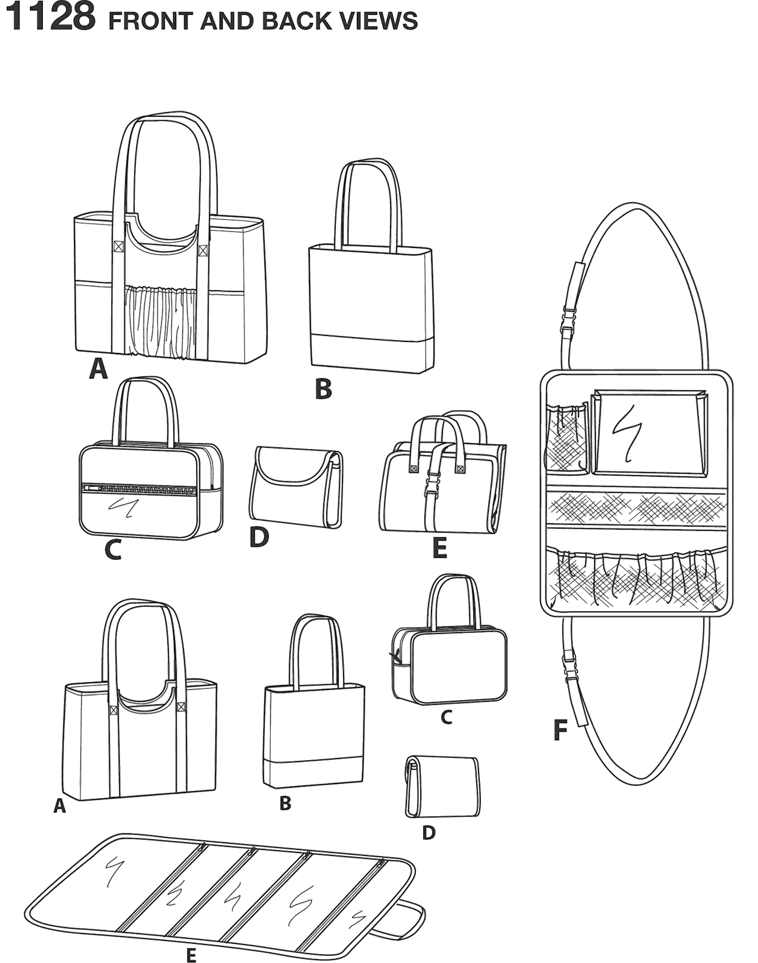 Simplicity Pattern 1128 Totes and Organizers Line Art From Patternsandplains.com