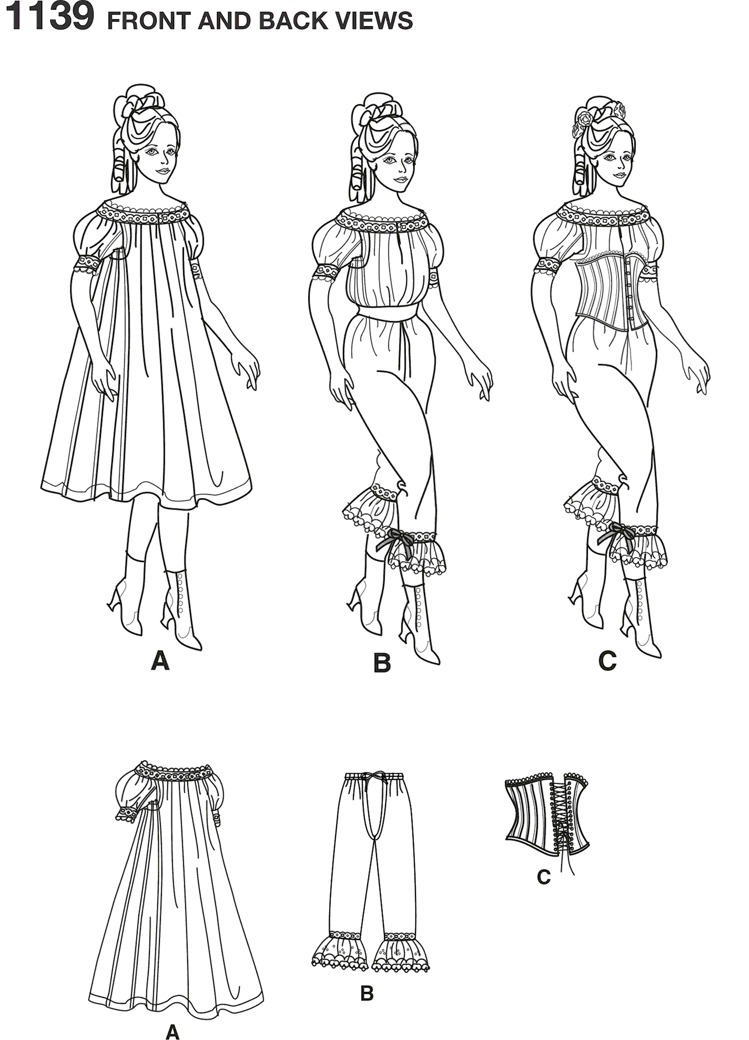 Simplicity Pattern 1139 Womens Civil War Undergarments Line Art From Patternsandplains.com