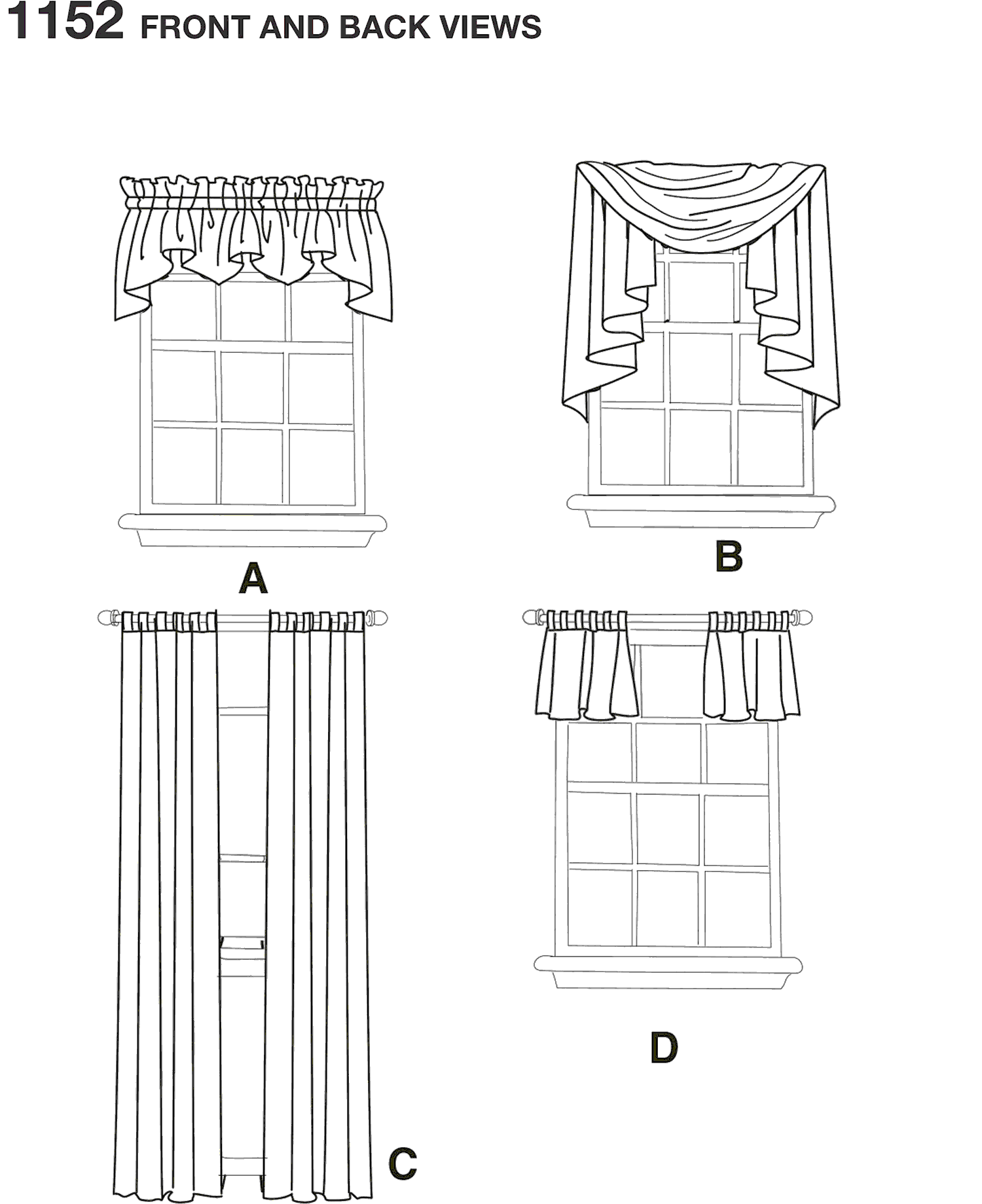 Simplicity Pattern 1152 Window Treatments Line Art From Patternsandplains.com