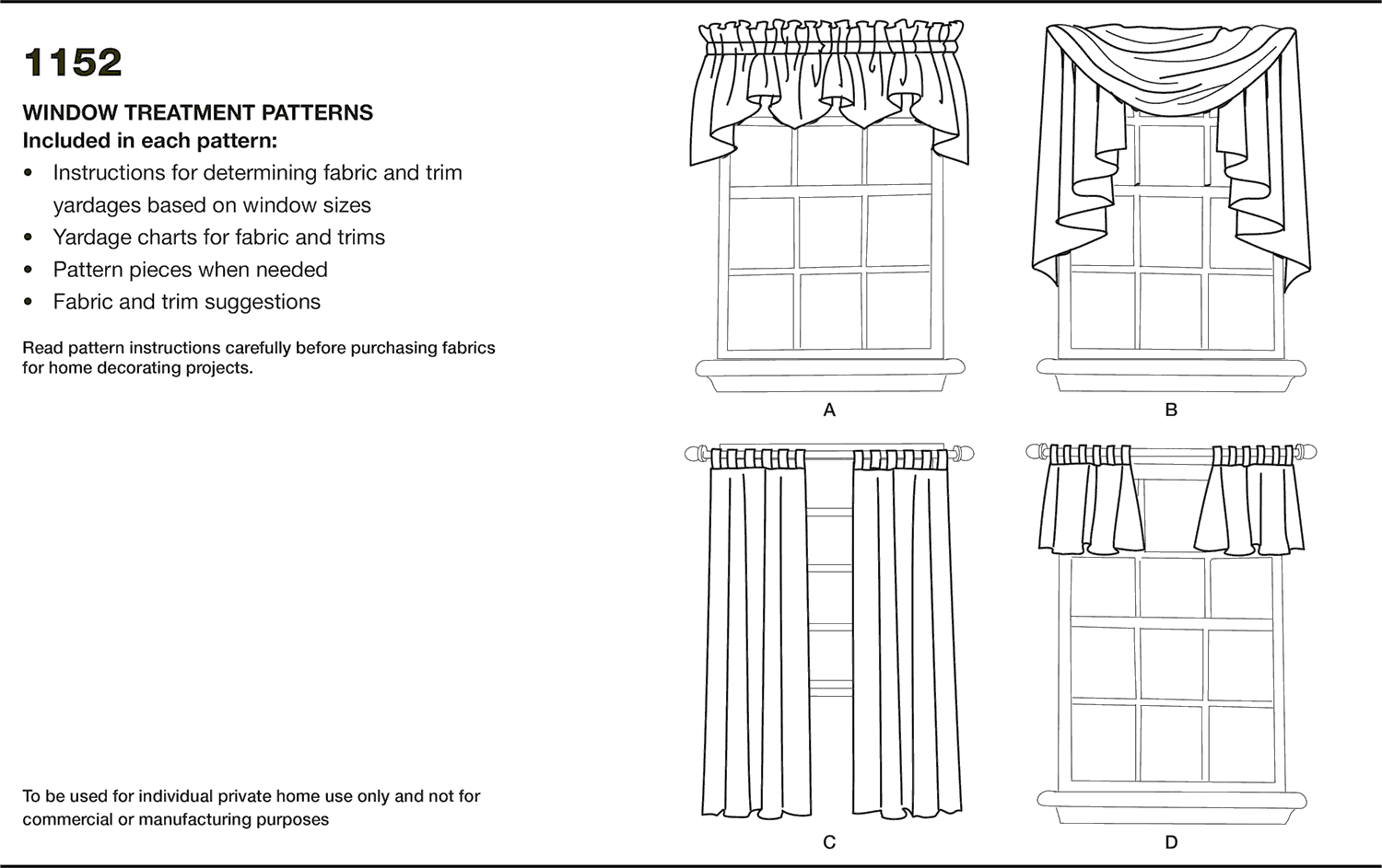 Simplicity Pattern 1152 Window Treatments Fabric Quantity Requirements From Patternsandplains.com