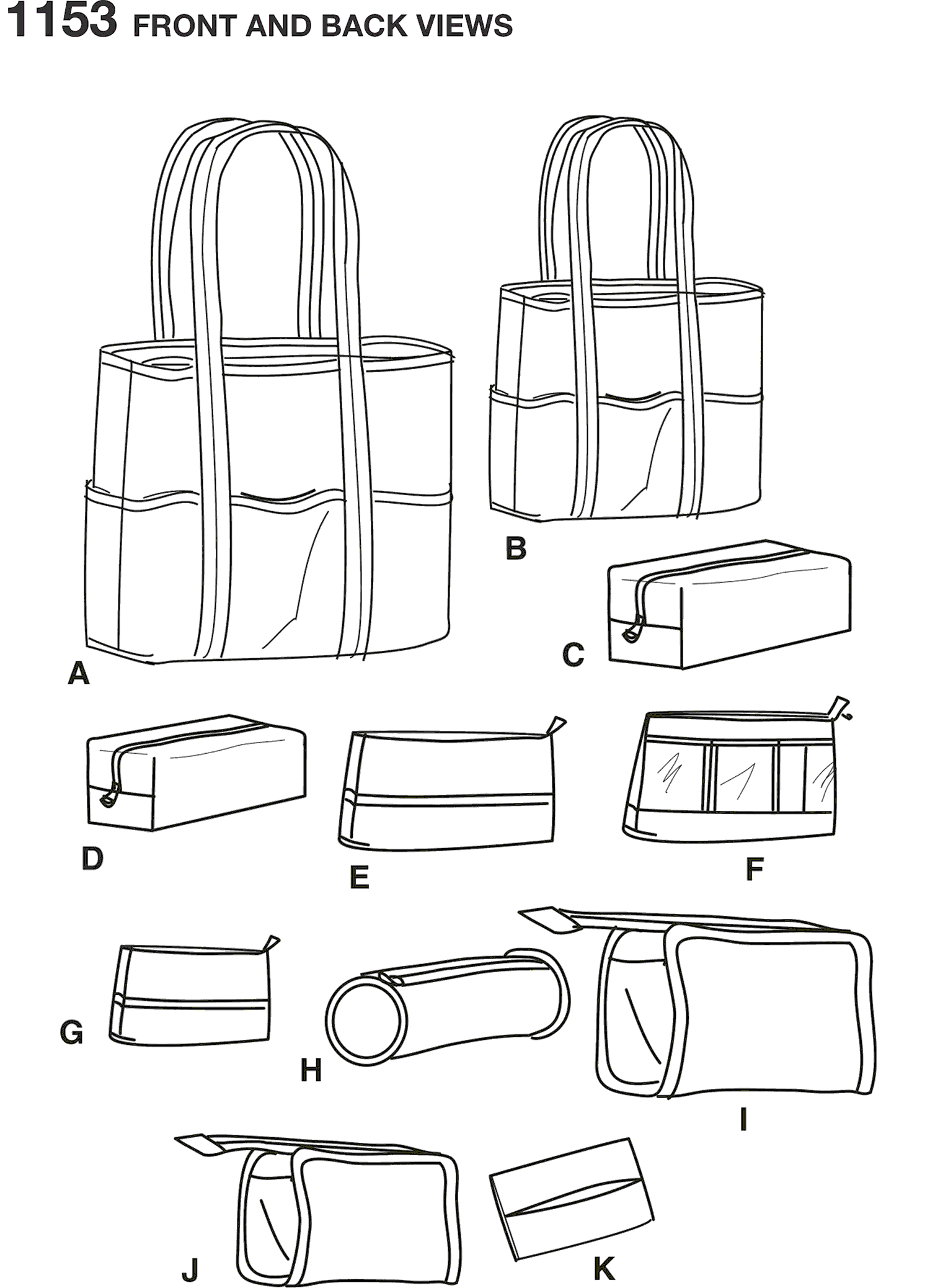 Simplicity Pattern 1153 Accessory Bags in Various Sizes Line Art From Patternsandplains.com