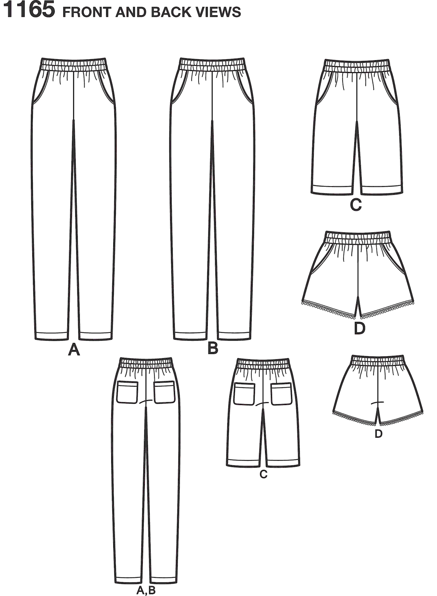Simplicity Pattern 1165 Womens Pull on Trousers Long or Short Shorts Line Art From Patternsandplains.com