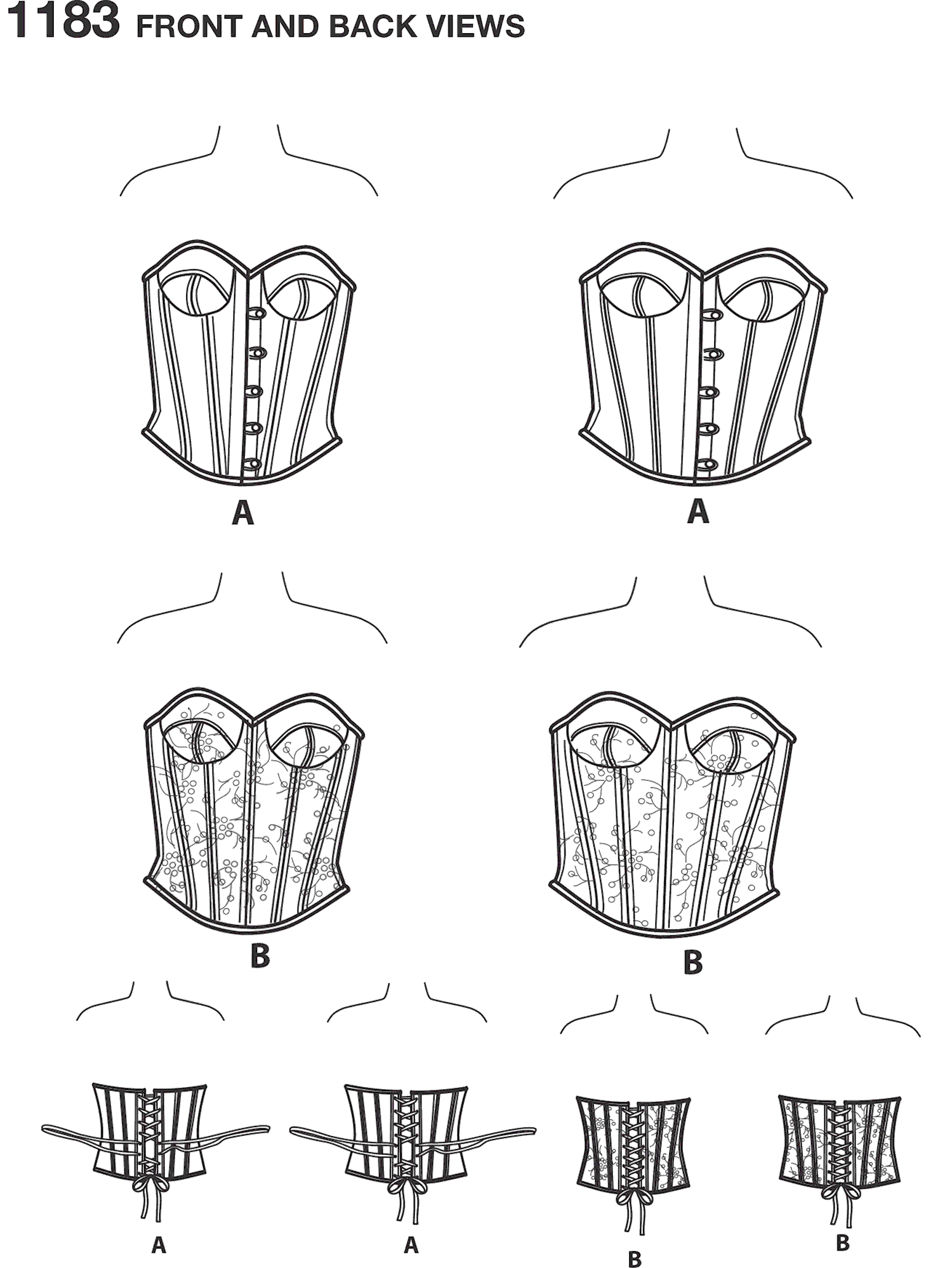 Simplicity Pattern 1183 Womens and Plus Size Corsets Line Art From Patternsandplains.com