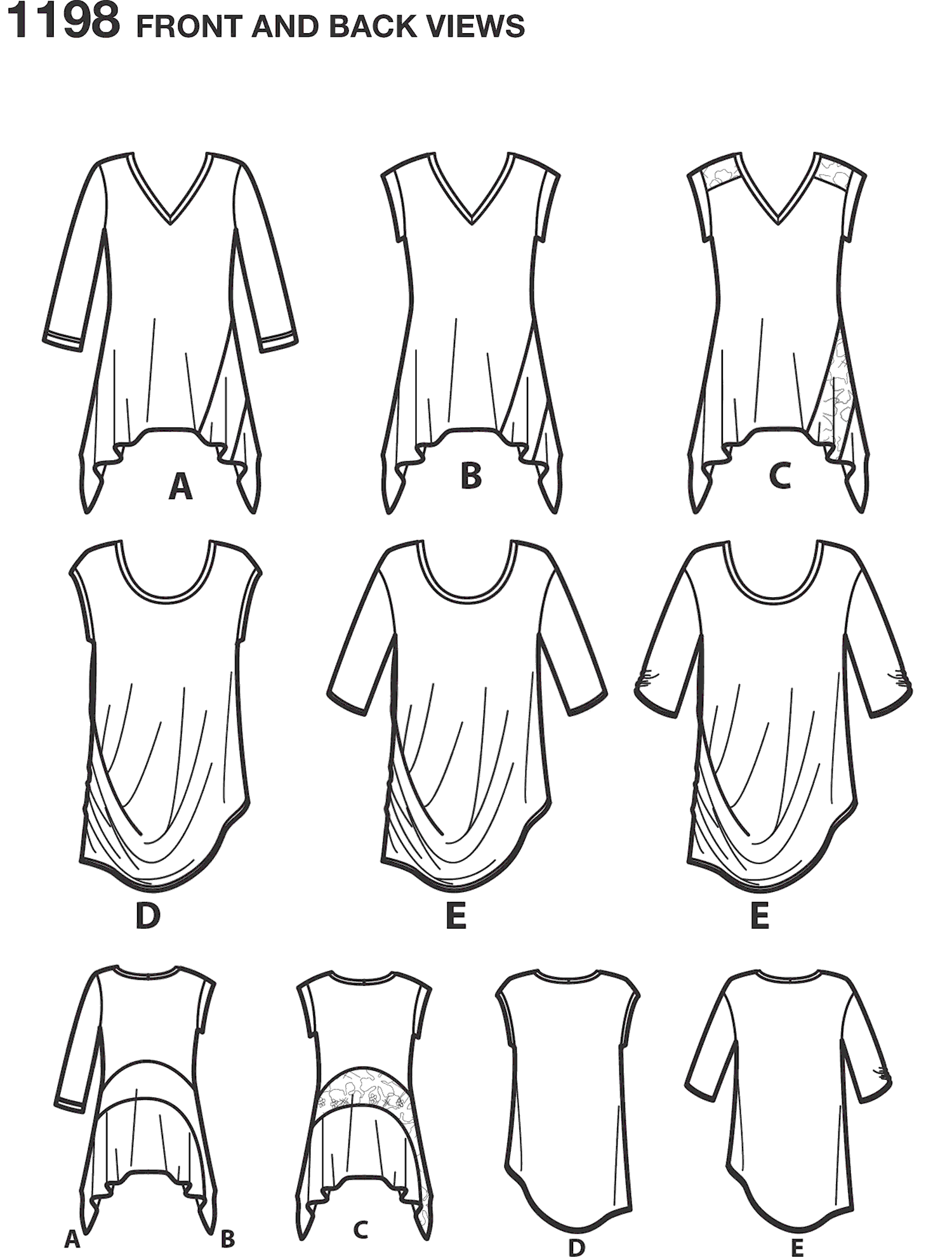 Simplicity Pattern 1198 Womens Knit Tops in Two Styles Line Art From Patternsandplains.com