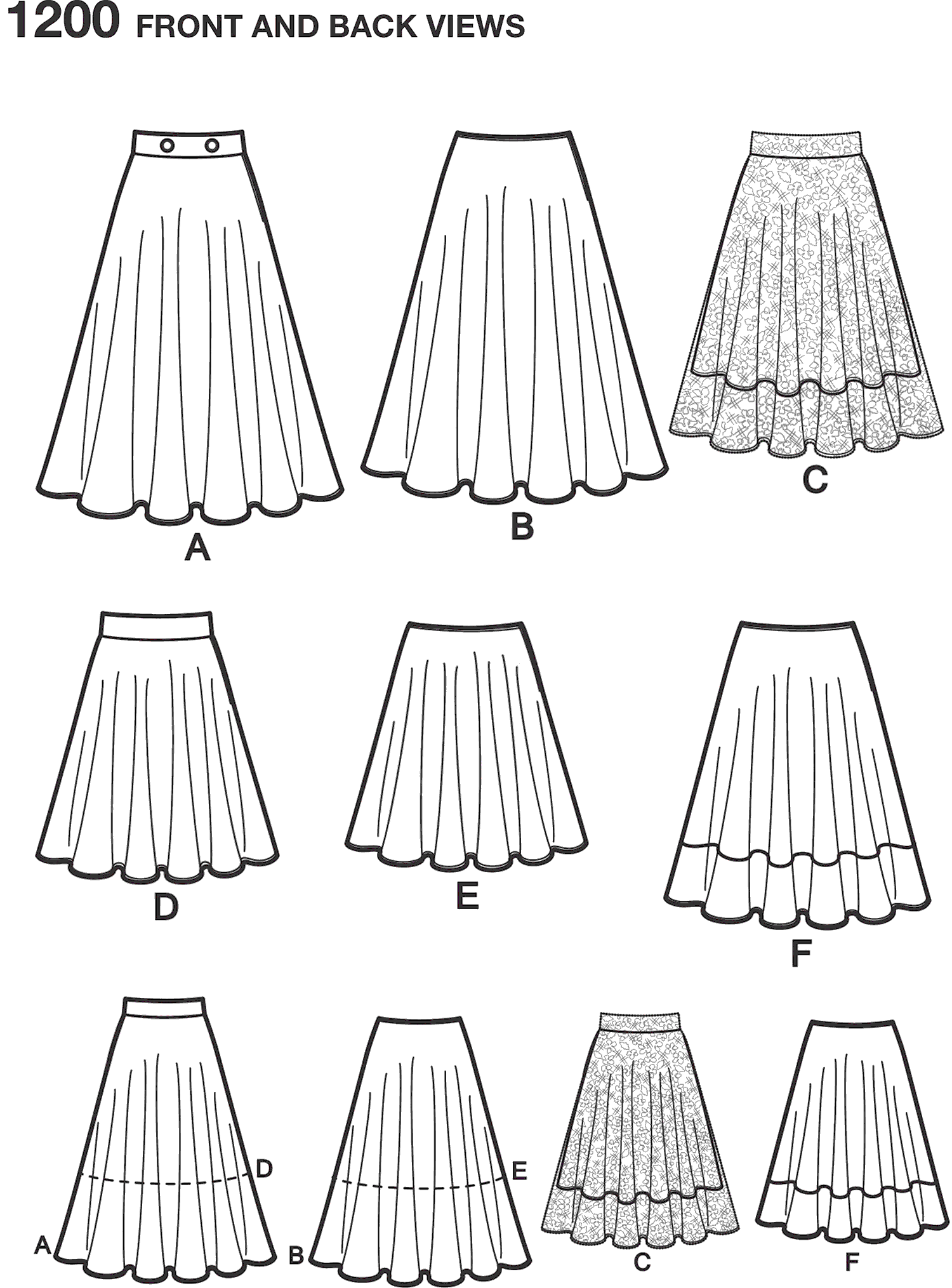 Simplicity Pattern 1200 Womens 3 4 Circle Skirt with Length Variations Line Art From Patternsandplains.com