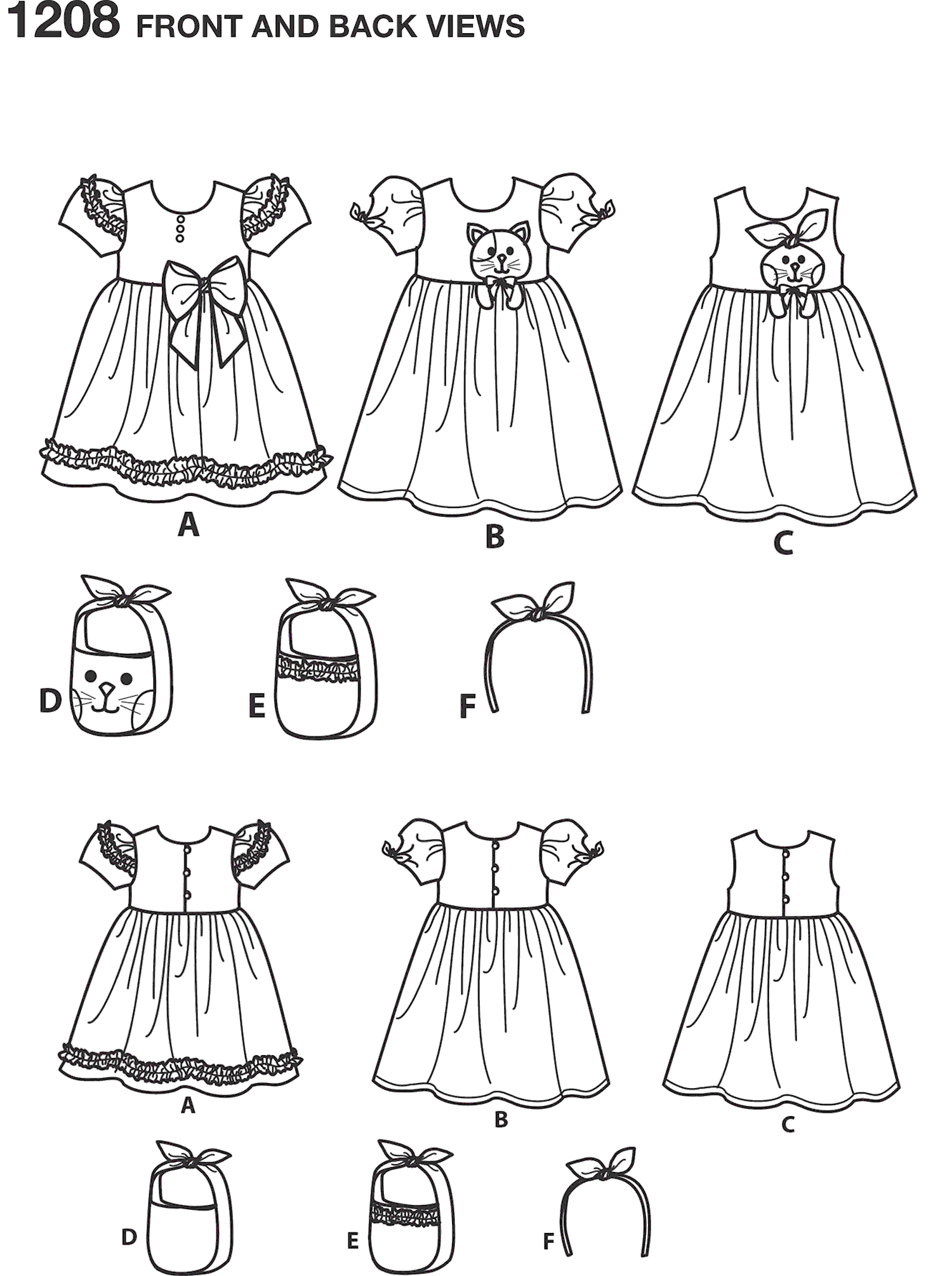 Simplicity Pattern 1208 Childs Dresses Purses and Headband Line Art From Patternsandplains.com