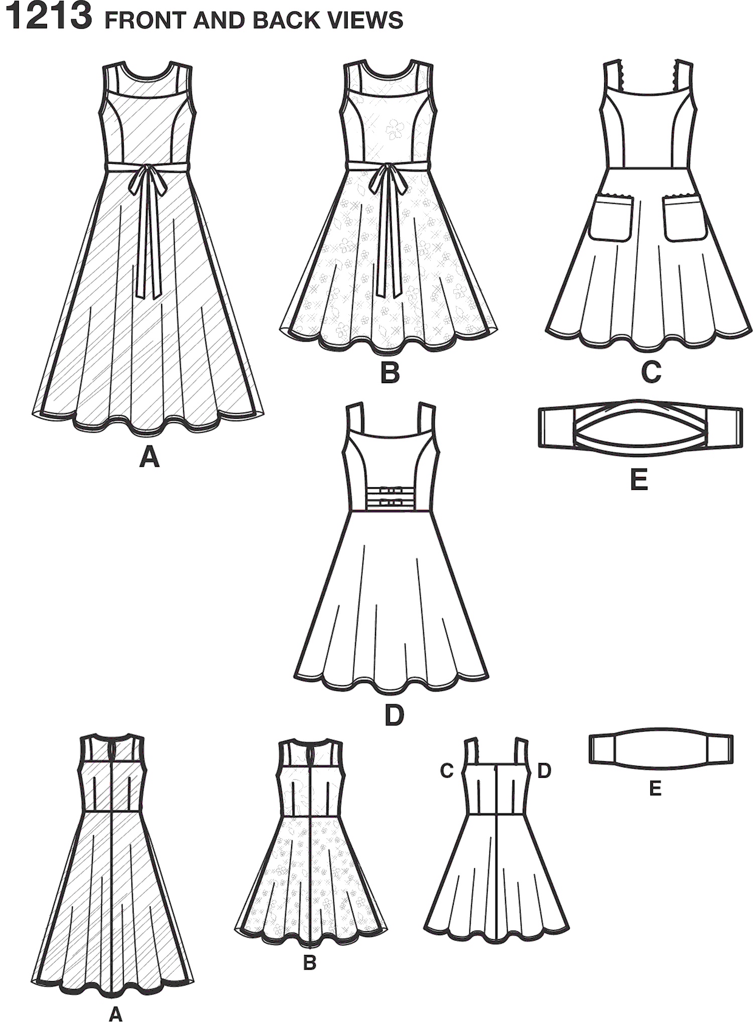 Simplicity Pattern 1213 Girls and Girls Plus Size Dresses and Knit Shrug Line Art From Patternsandplains.com