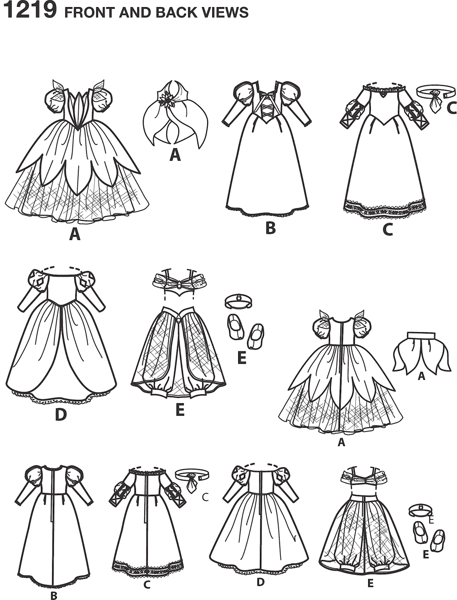 Simplicity Pattern 1219 Disney Princess 18 Doll Clothes Line Art From Patternsandplains.com