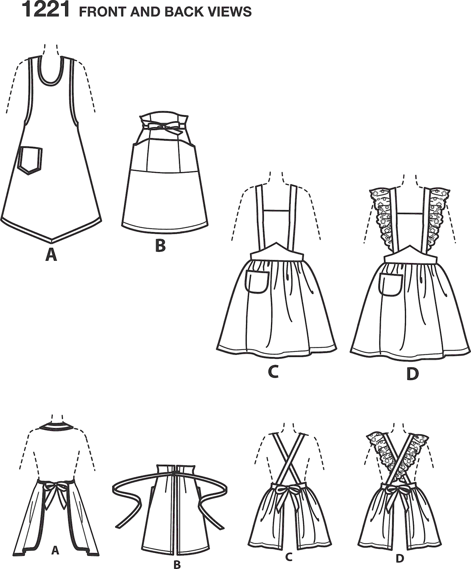 Simplicity Pattern 1221 Womens Vintage Aprons Line Art From Patternsandplains.com