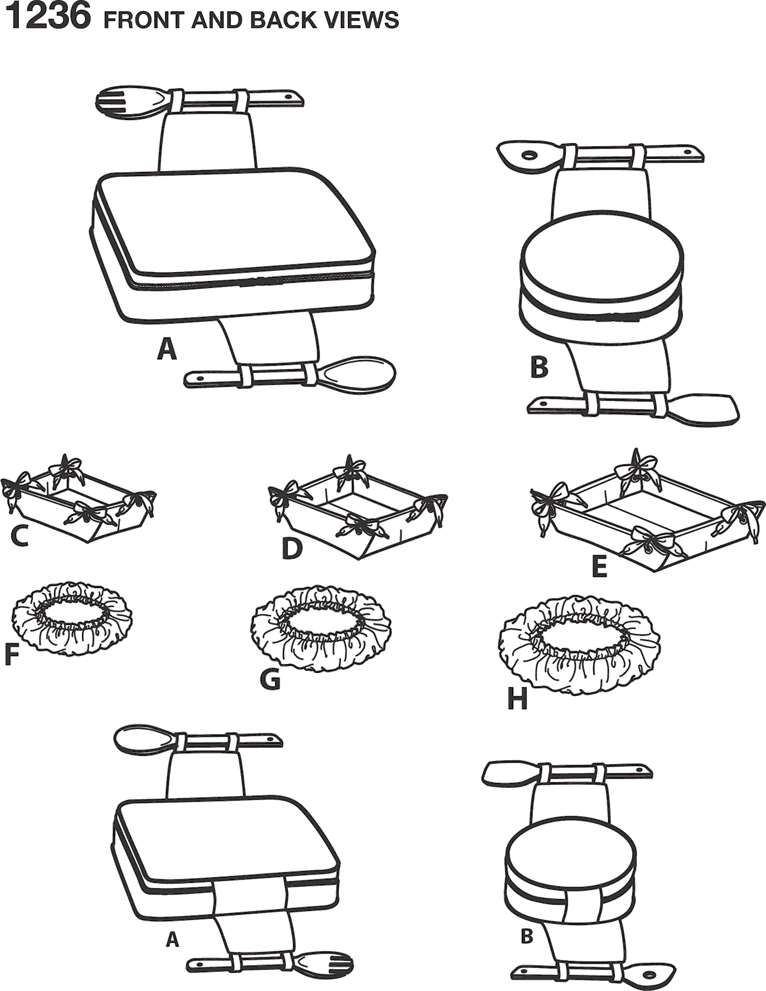Simplicity Pattern 1236 Casserole Carriers Gifting Baskets and Bowl Covers Line Art From Patternsandplains.com