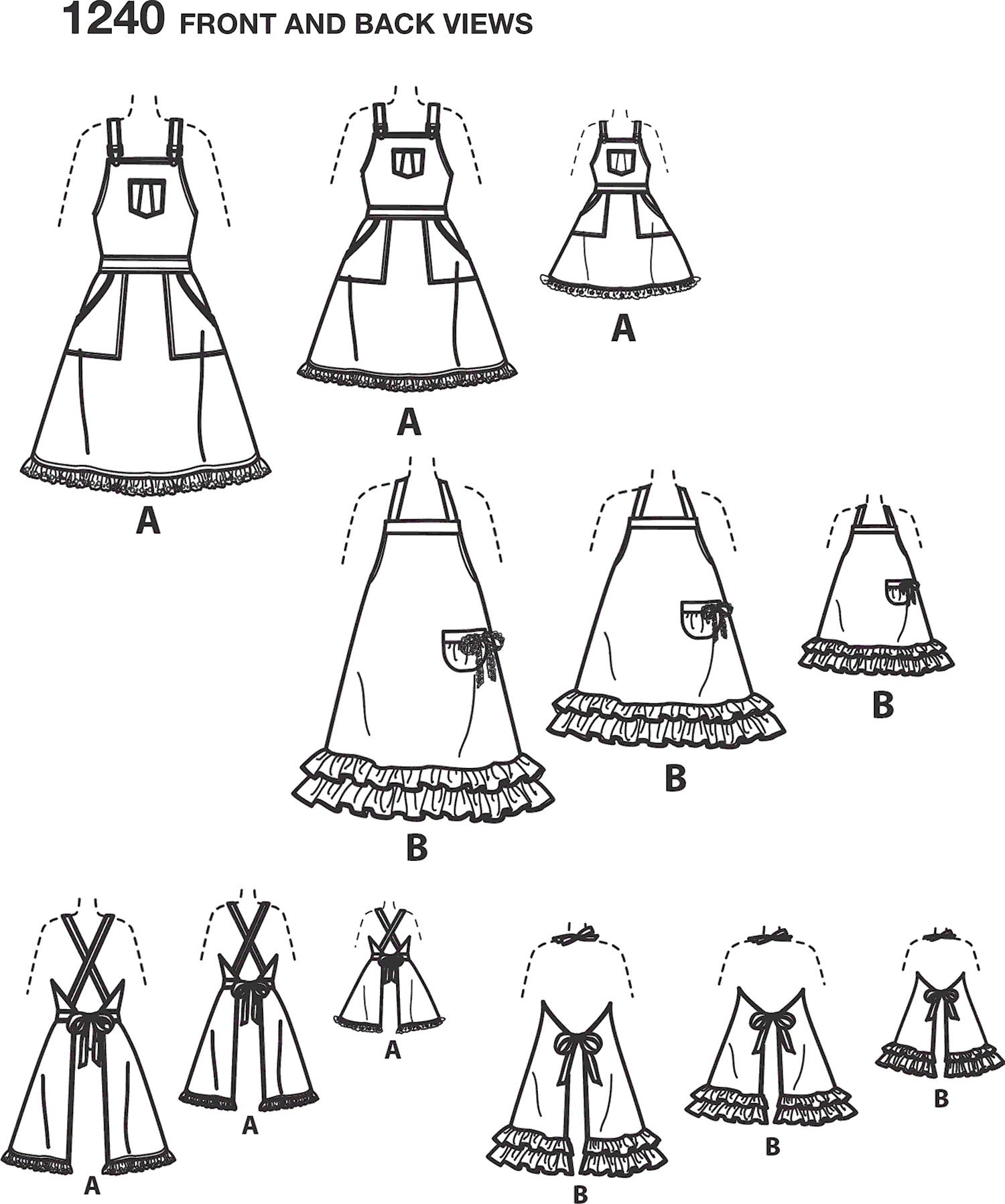 Simplicity Pattern 1240 Aprons for Womens Children and 18 Doll Line Art From Patternsandplains.com
