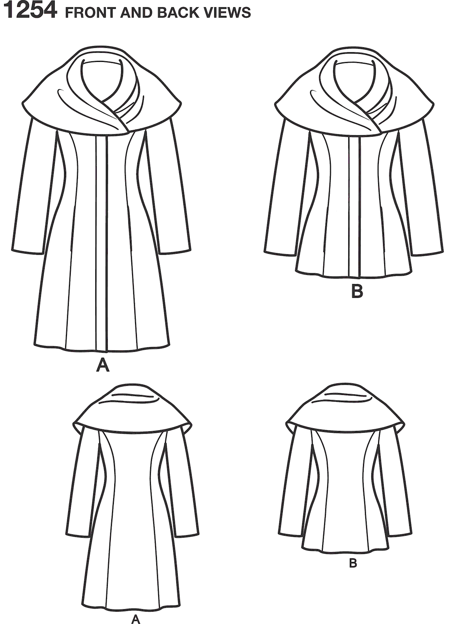 Simplicity Pattern 1254 Womens Leanne Marshall Easy Lined Coat or Jacket Line Art From Patternsandplains.com