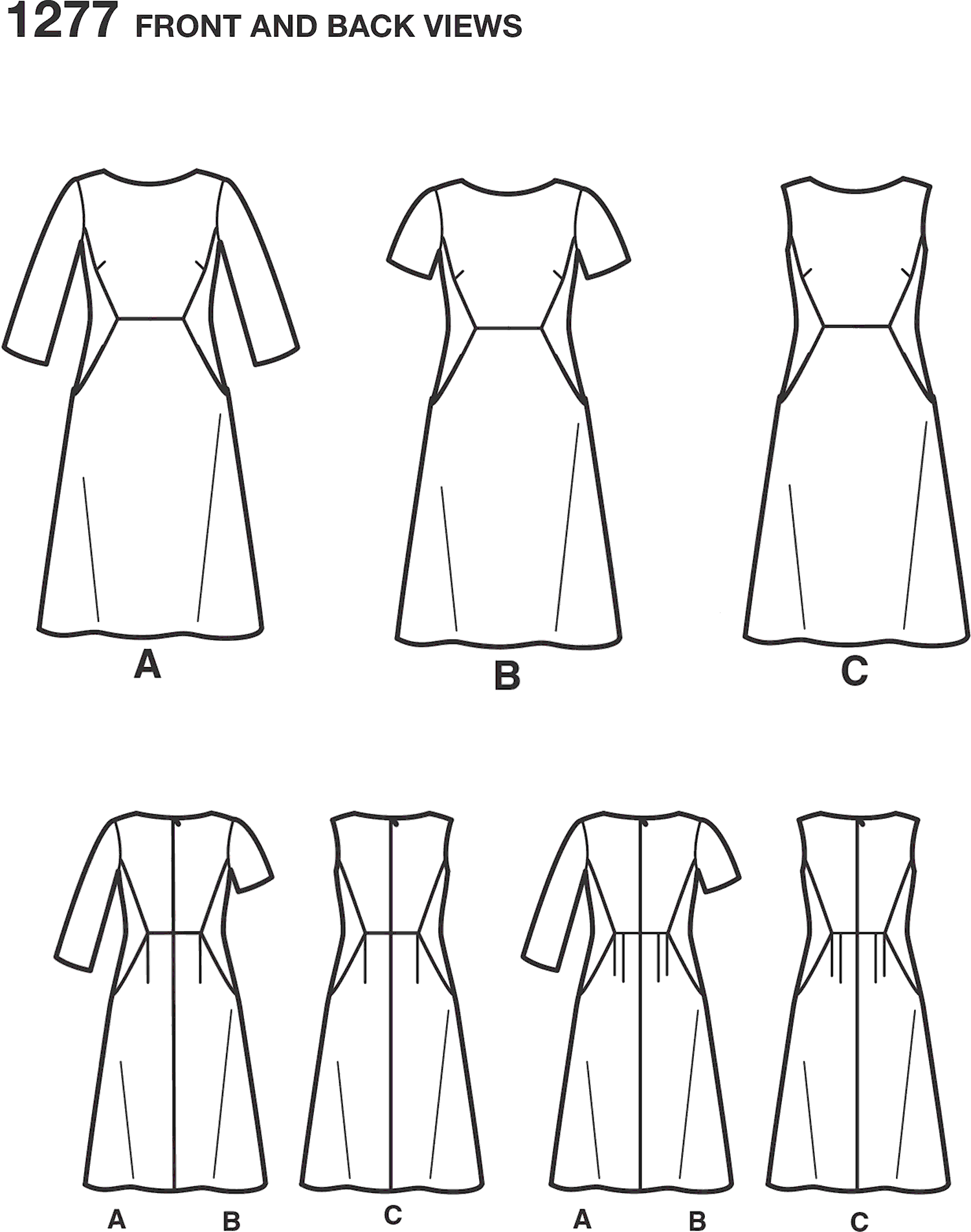 Simplicity Pattern 1277 Womens and Plus Amazing Fit Dress Line Art From Patternsandplains.com
